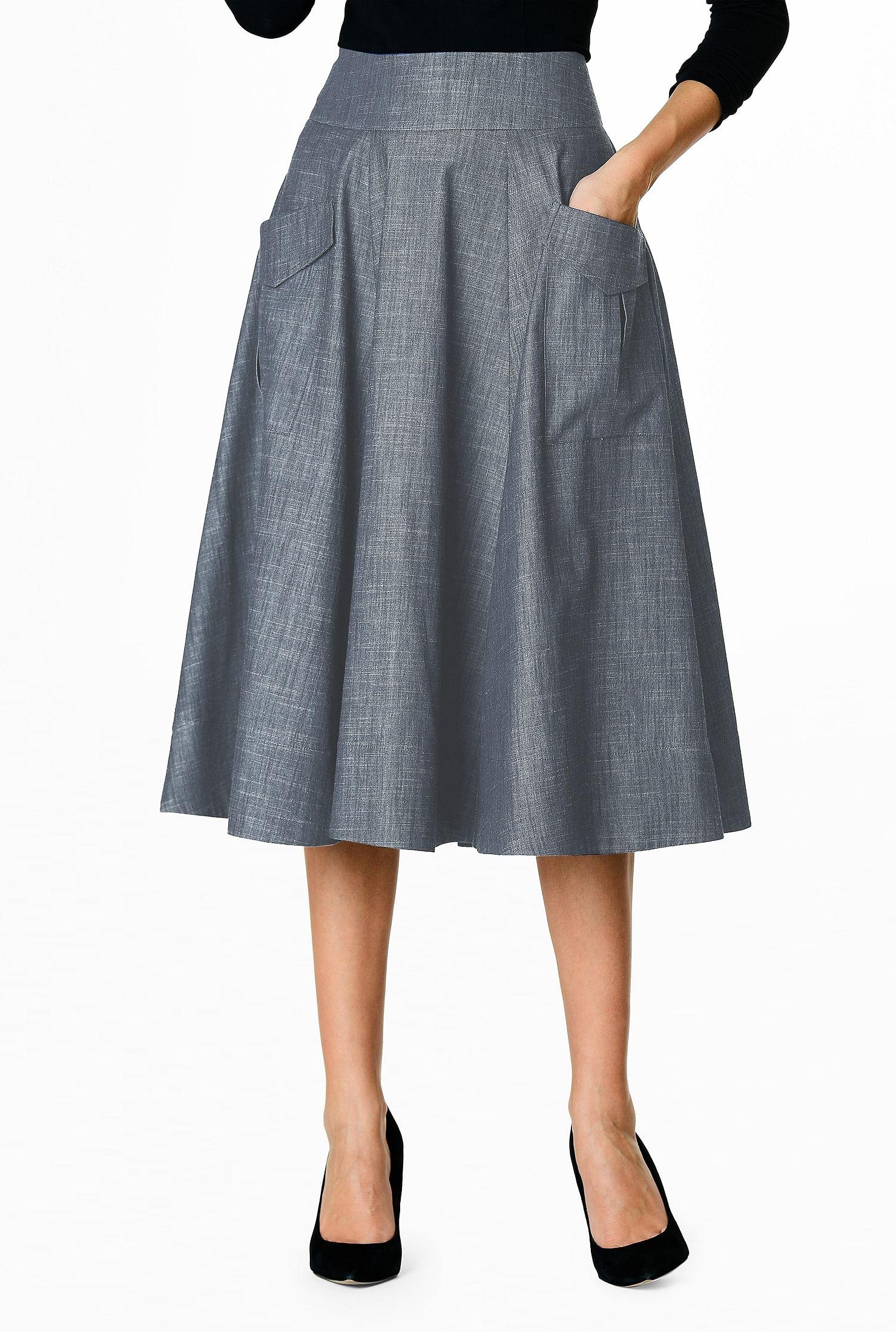 6b127c4729 banded waist skirts, cotton skirts, Feminine Skirts, full flare skirts,  indigo