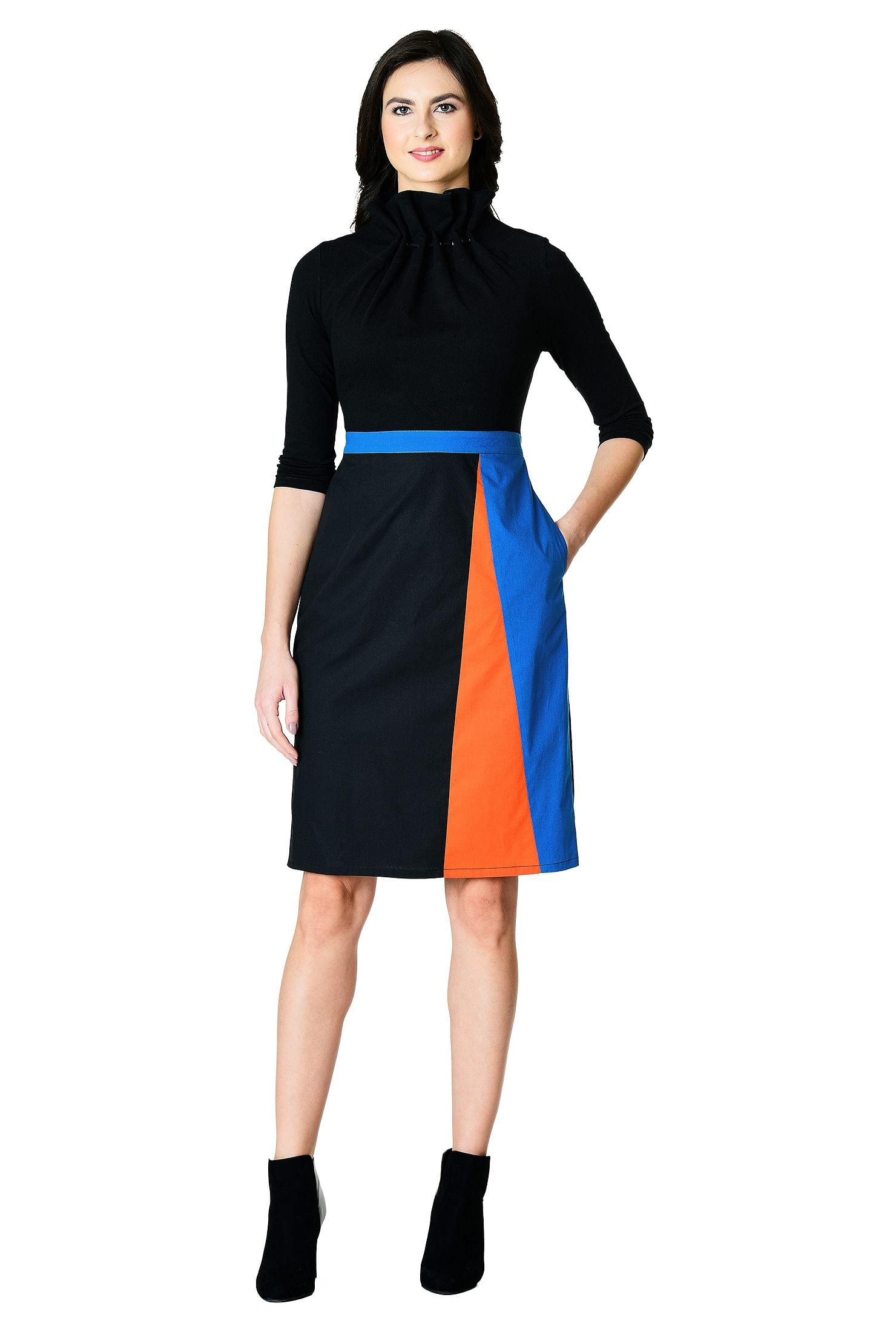 3ac4acfe Above knee length dresses, black/true blue/wood fired orange dresses,