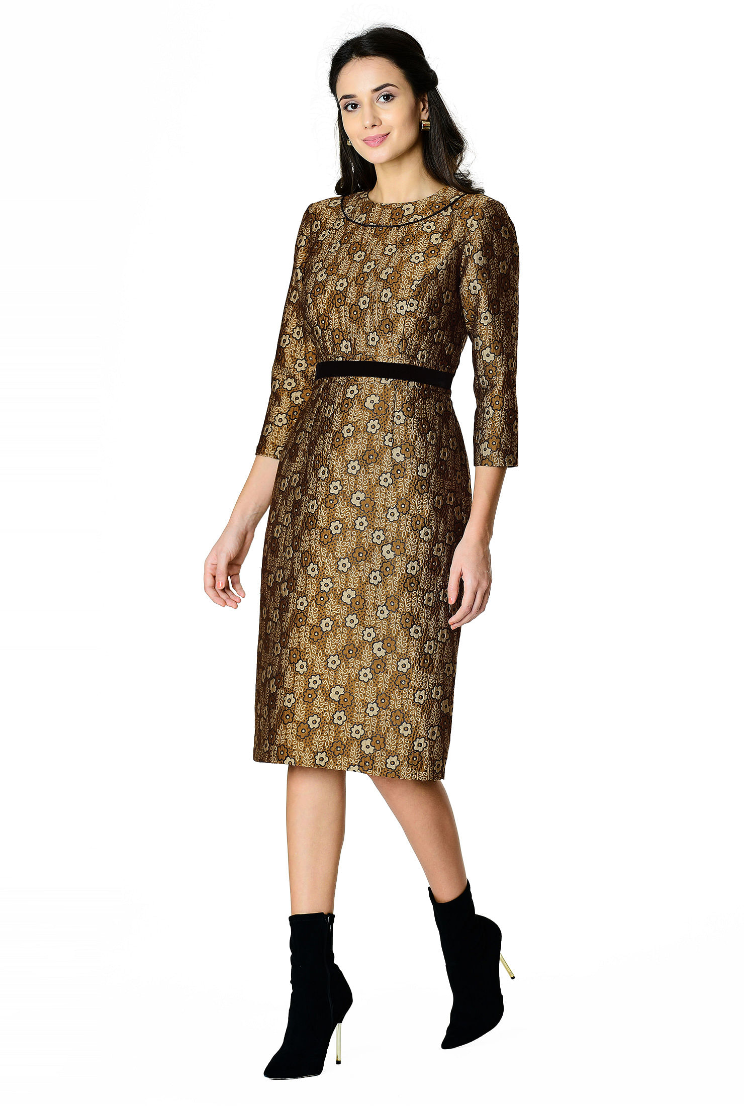 1960s Evening Dresses, Bridesmaids, Mothers Gowns Floral jacquard contrast waist sheath dress $89.95 AT vintagedancer.com
