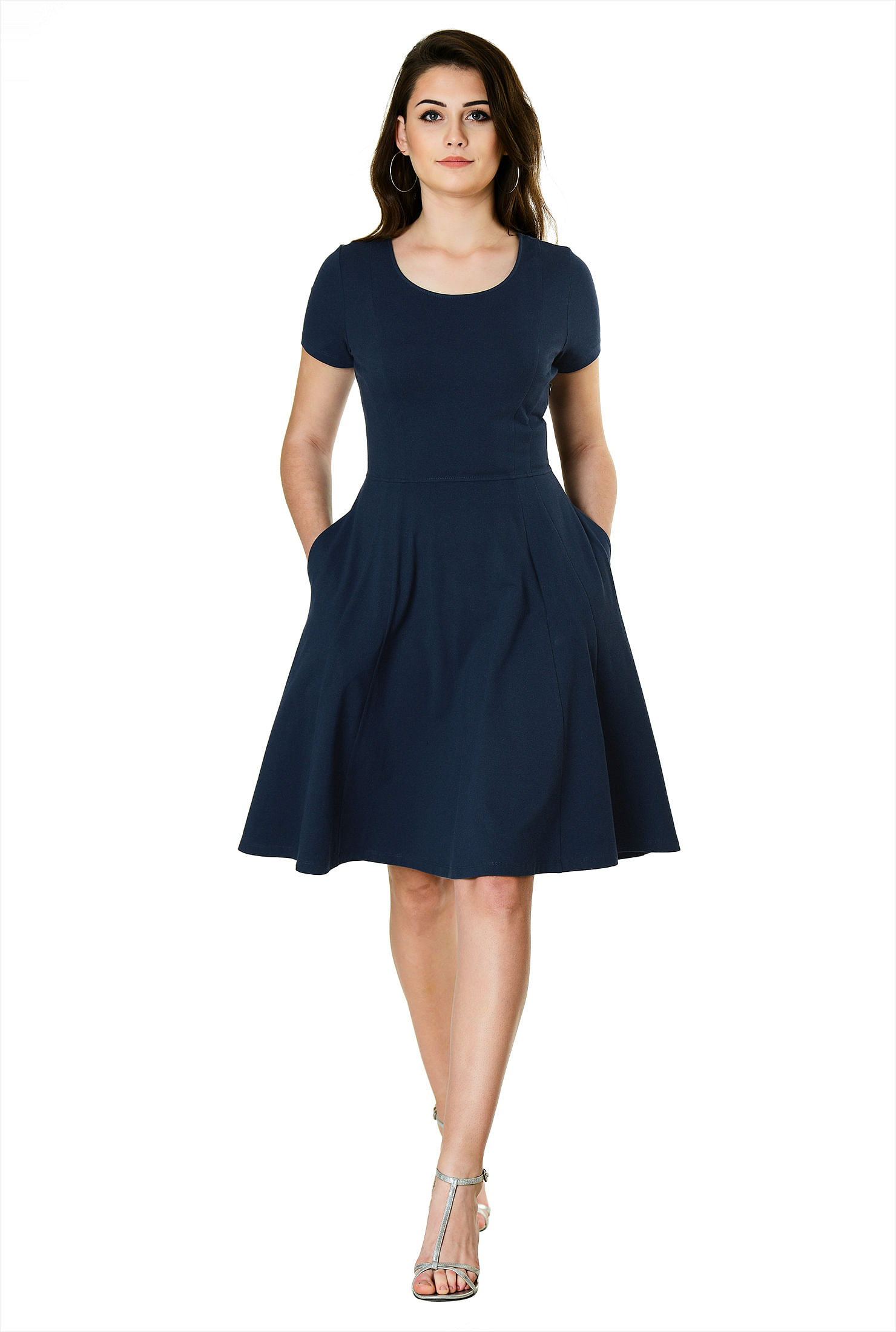 16ca756836b8 cotton/spandex Dresses, Deep Navy Dresses, Fit and flare dresses, jersey