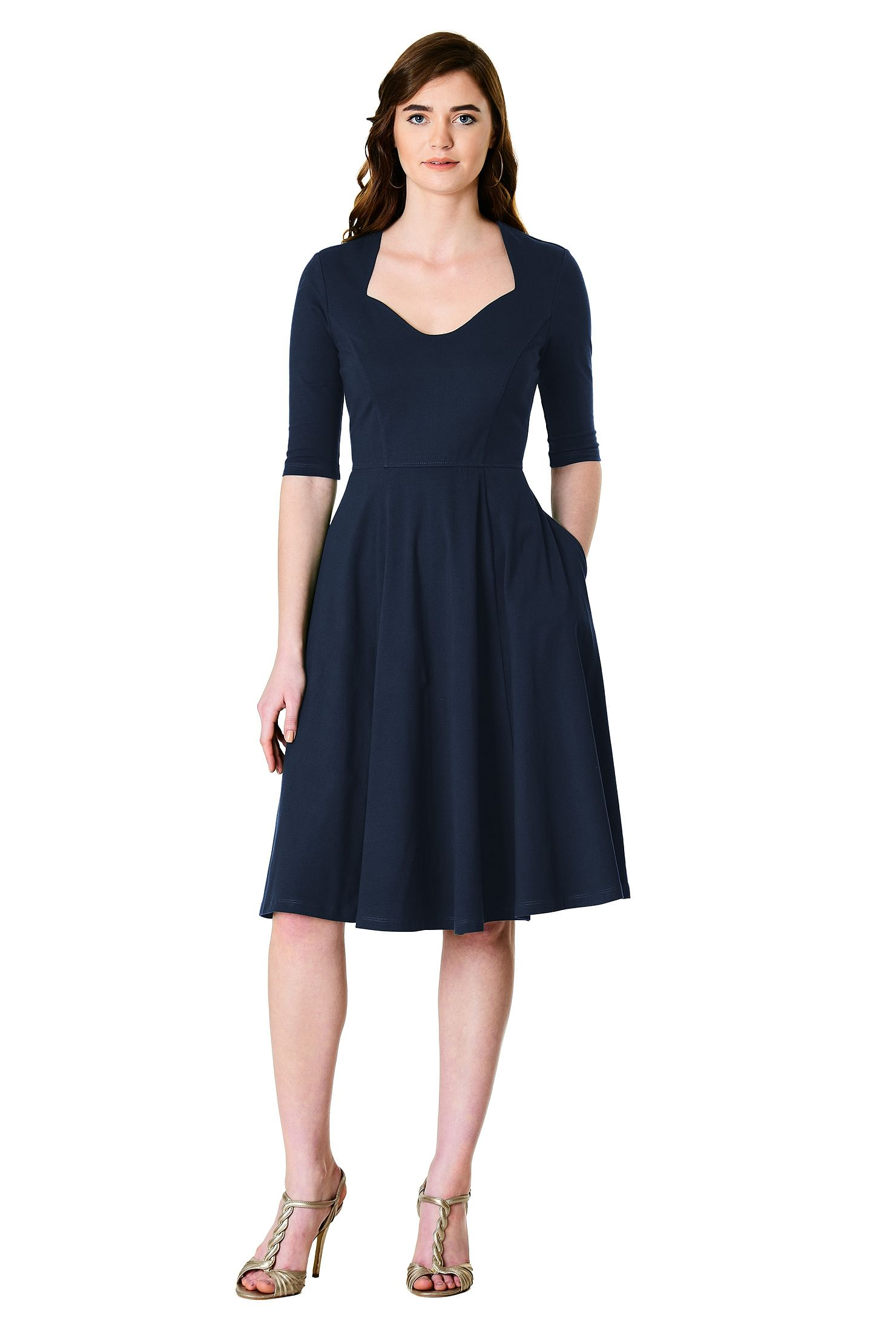 af716c4c5a3e below knee length dresses, cotton/spandex Dresses, day dresses, Deep Navy