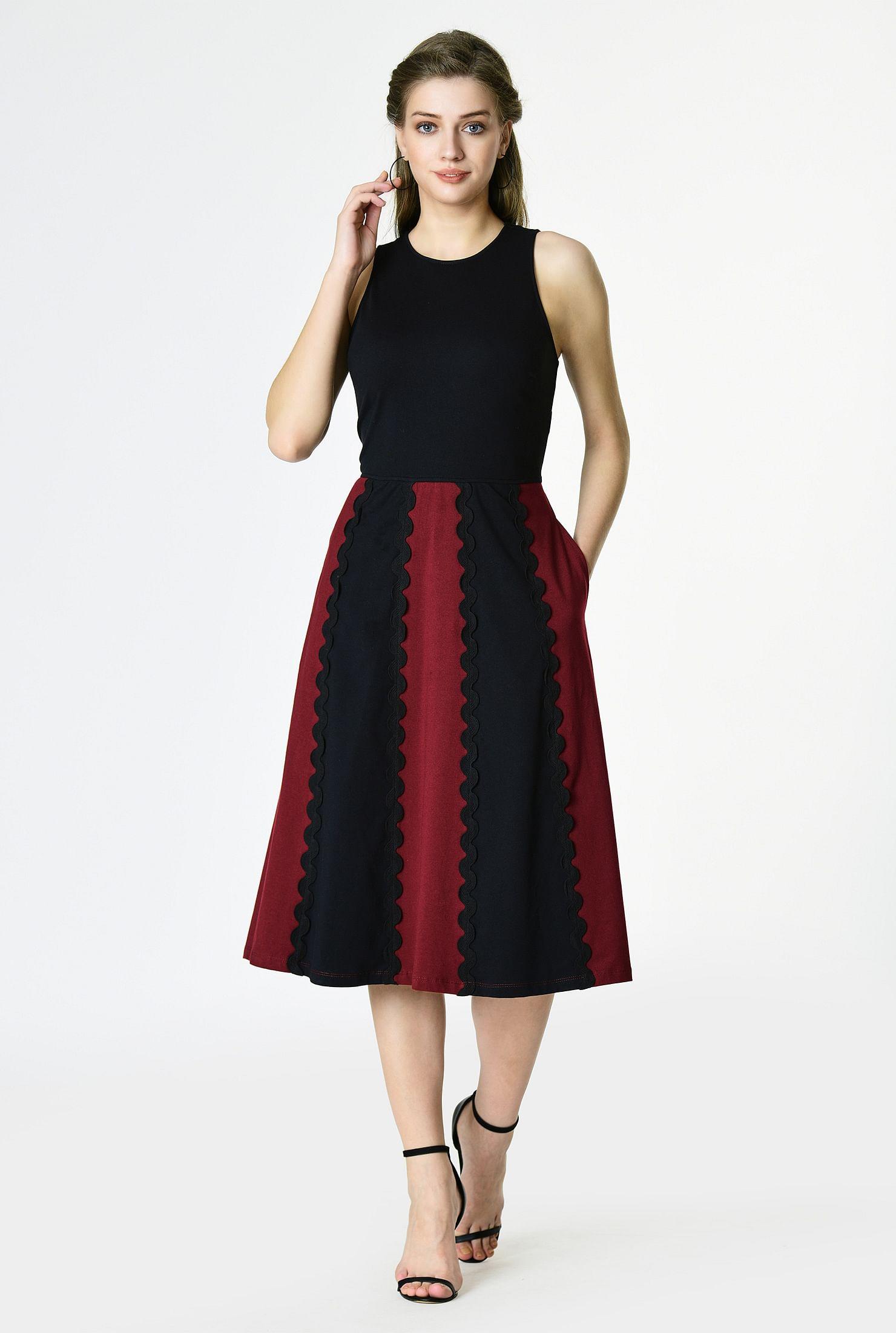 Colorblock Scallop Lace Trim Cotton Knit Dress