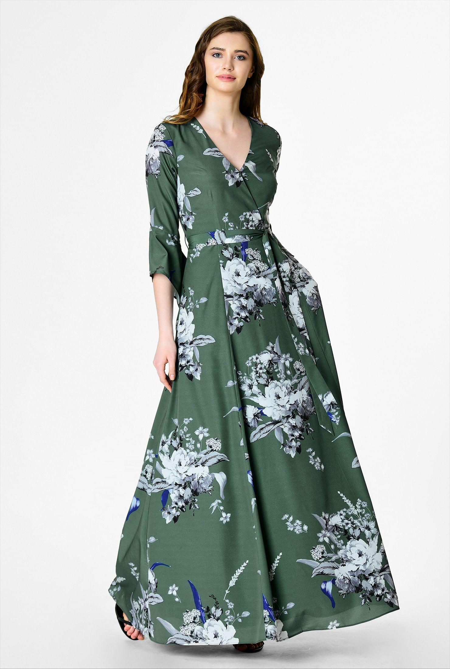df5363834b62 ... Floral print crepe surplice maxi dress. Out of Stock. , Bracelet length  dresses, digital print dresses, Dusty Green dresses, full length with