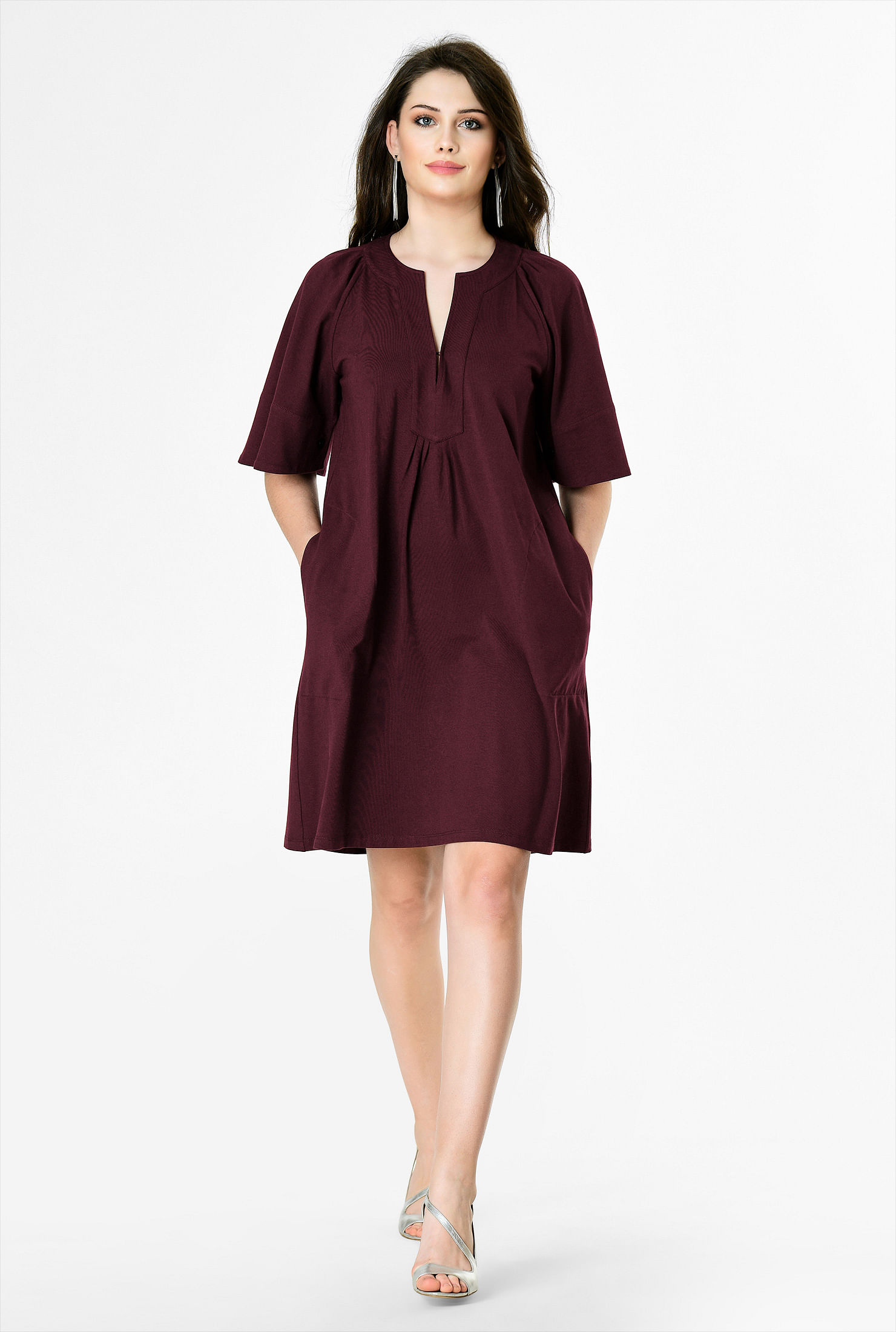 2413b1b2d9a ... Bell sleeve cotton knit tunic dress. , Above knee length dresses, Ancho  chile dresses, banded jewel neck dresses, cotton