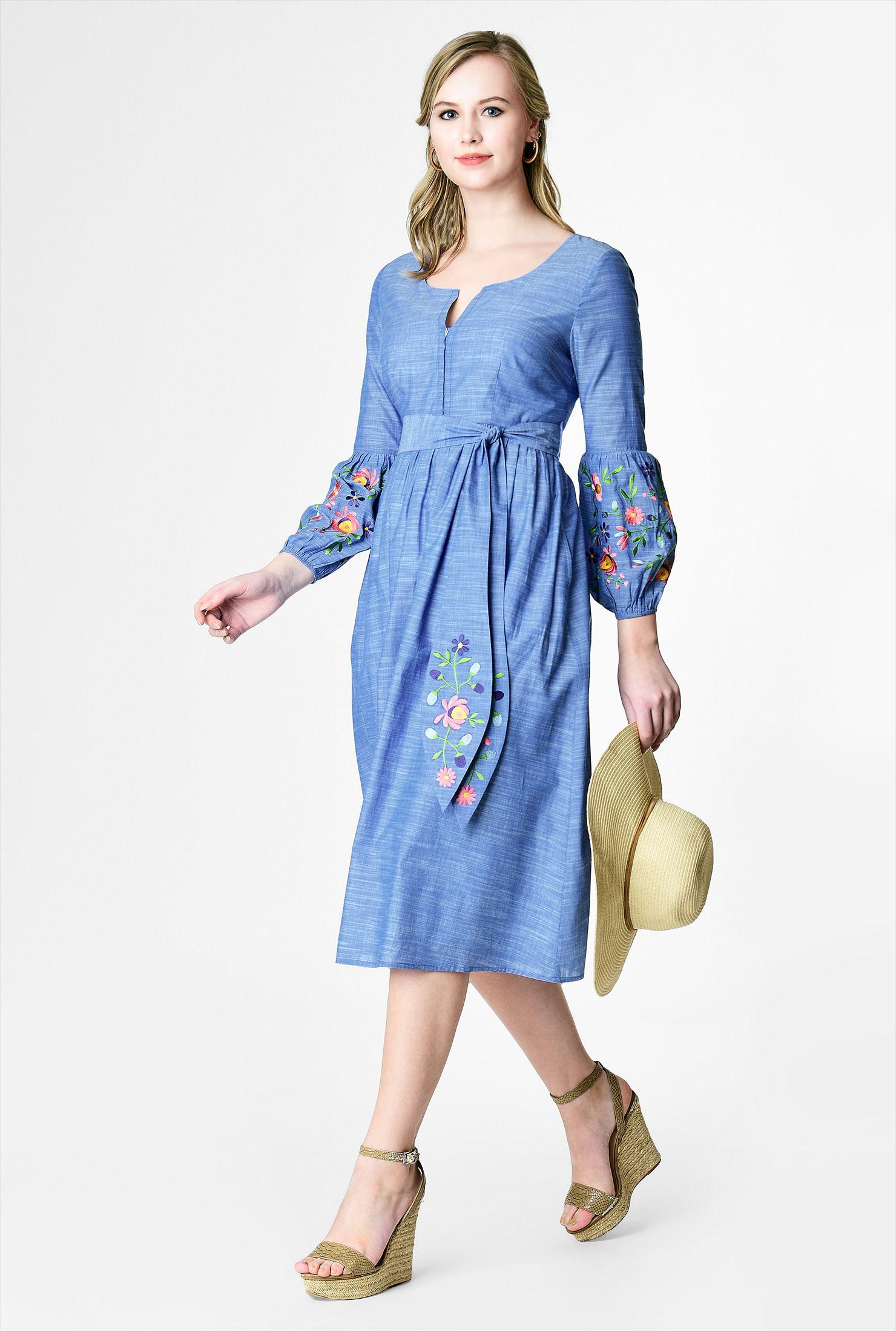 Floral embellished bishop sleeve cotton chambray dress
