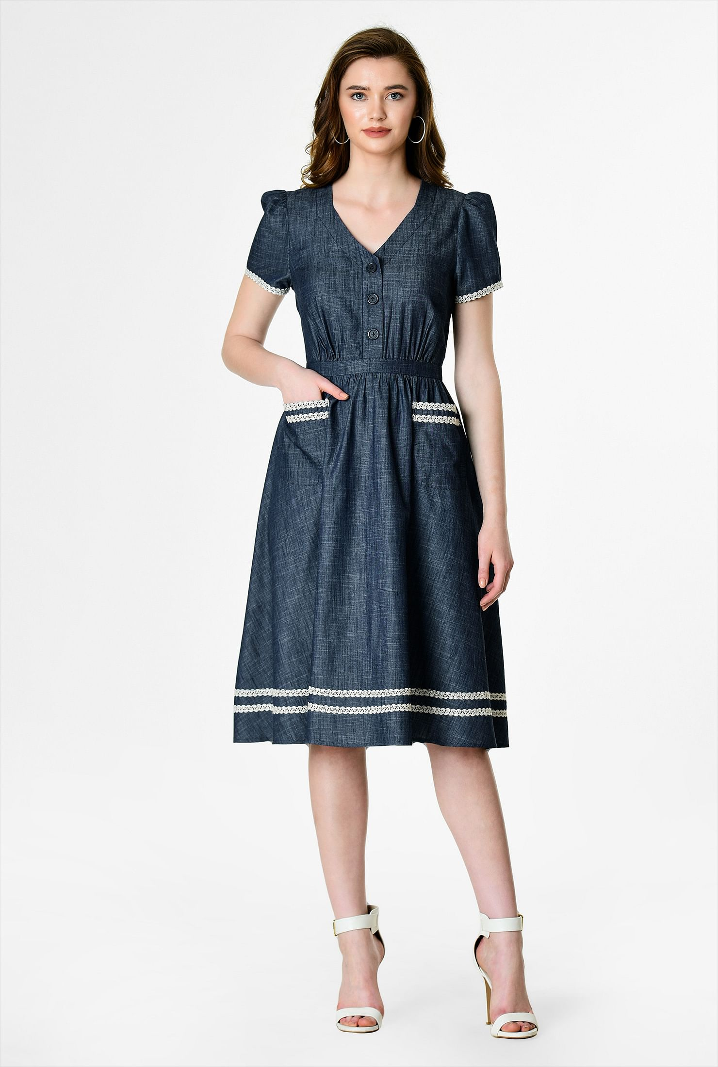 500 Vintage Style Dresses for Sale | Vintage Inspired Dresses Lace trim cotton chambray dress $59.95 AT vintagedancer.com