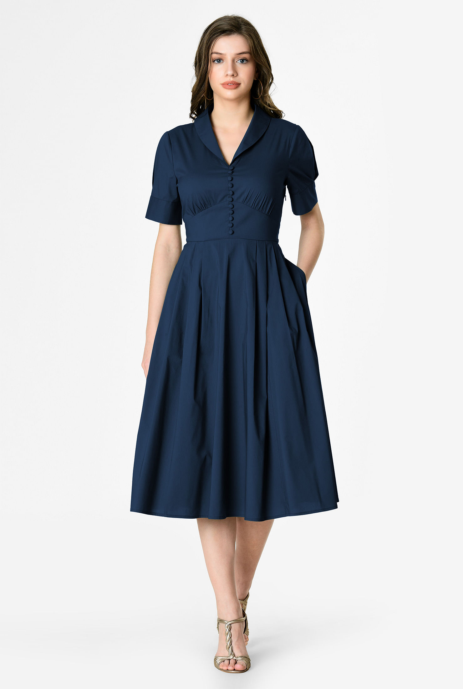 1940s Dresses | 40s Dress, Swing Dress Shawl collar cotton poplin banded empire dress $59.95 AT vintagedancer.com
