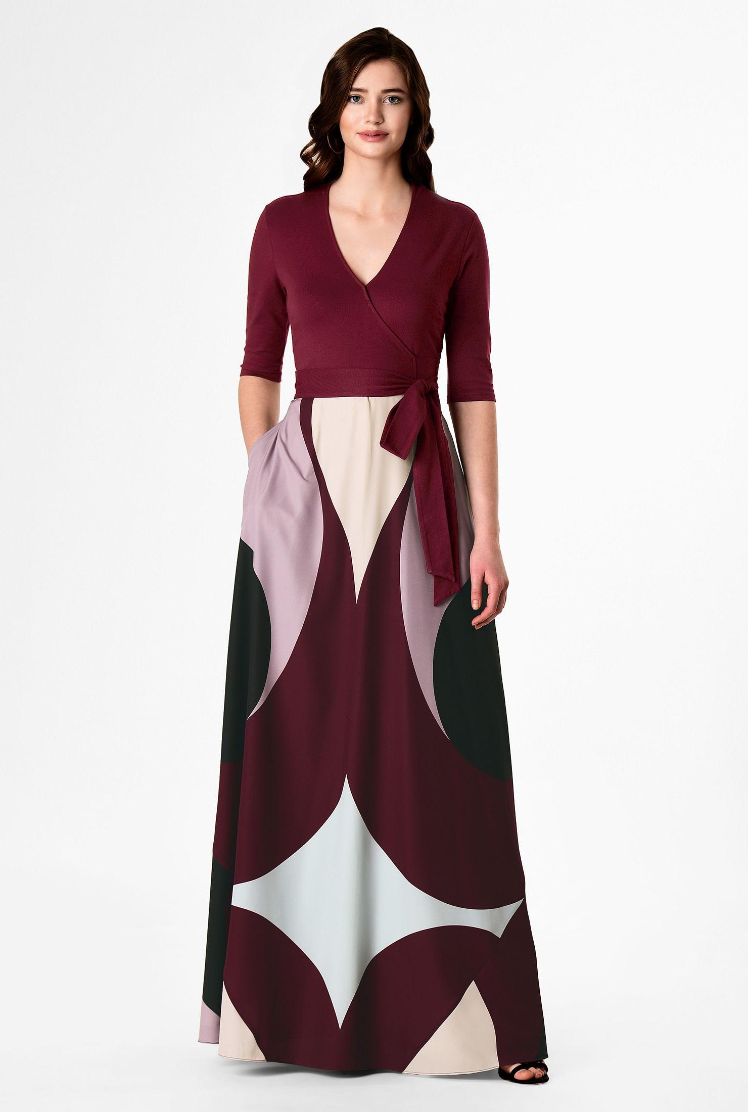 Graphic print mixed media maxi dress