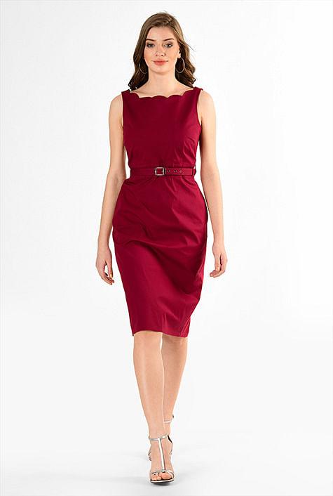 08858ac6e Scallop trim cotton poplin belted sheath dress