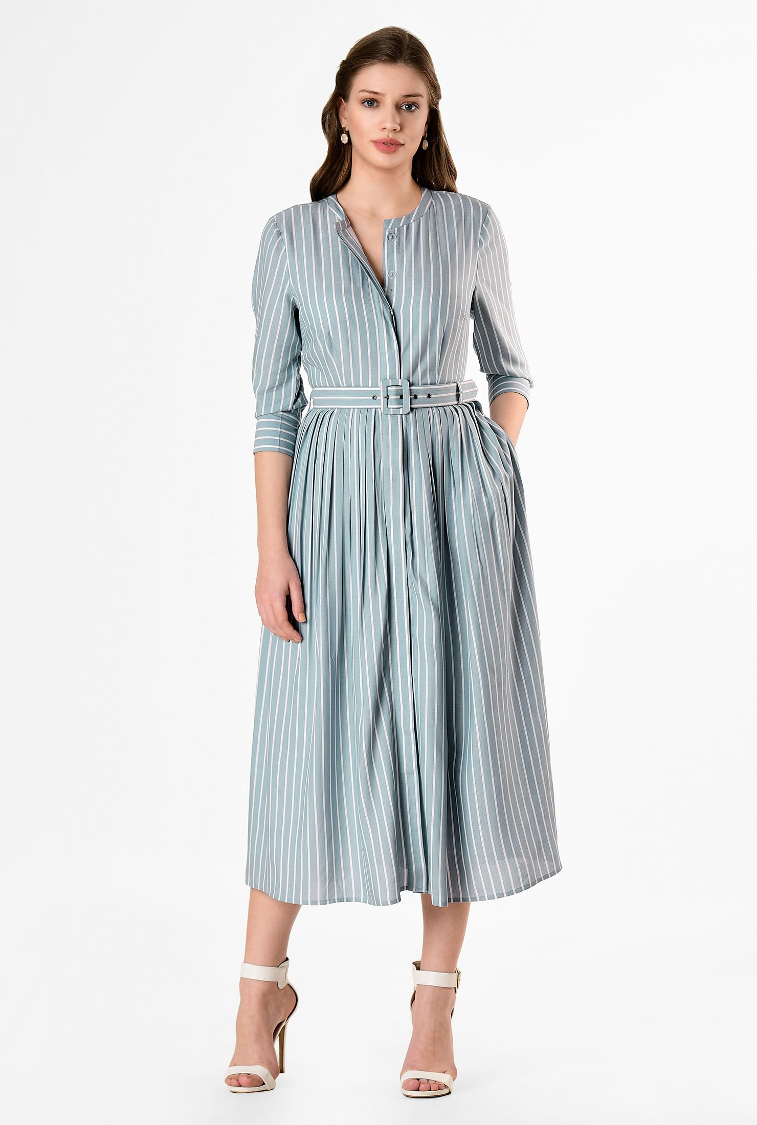 Stripe cotton chambray belted shirtdress