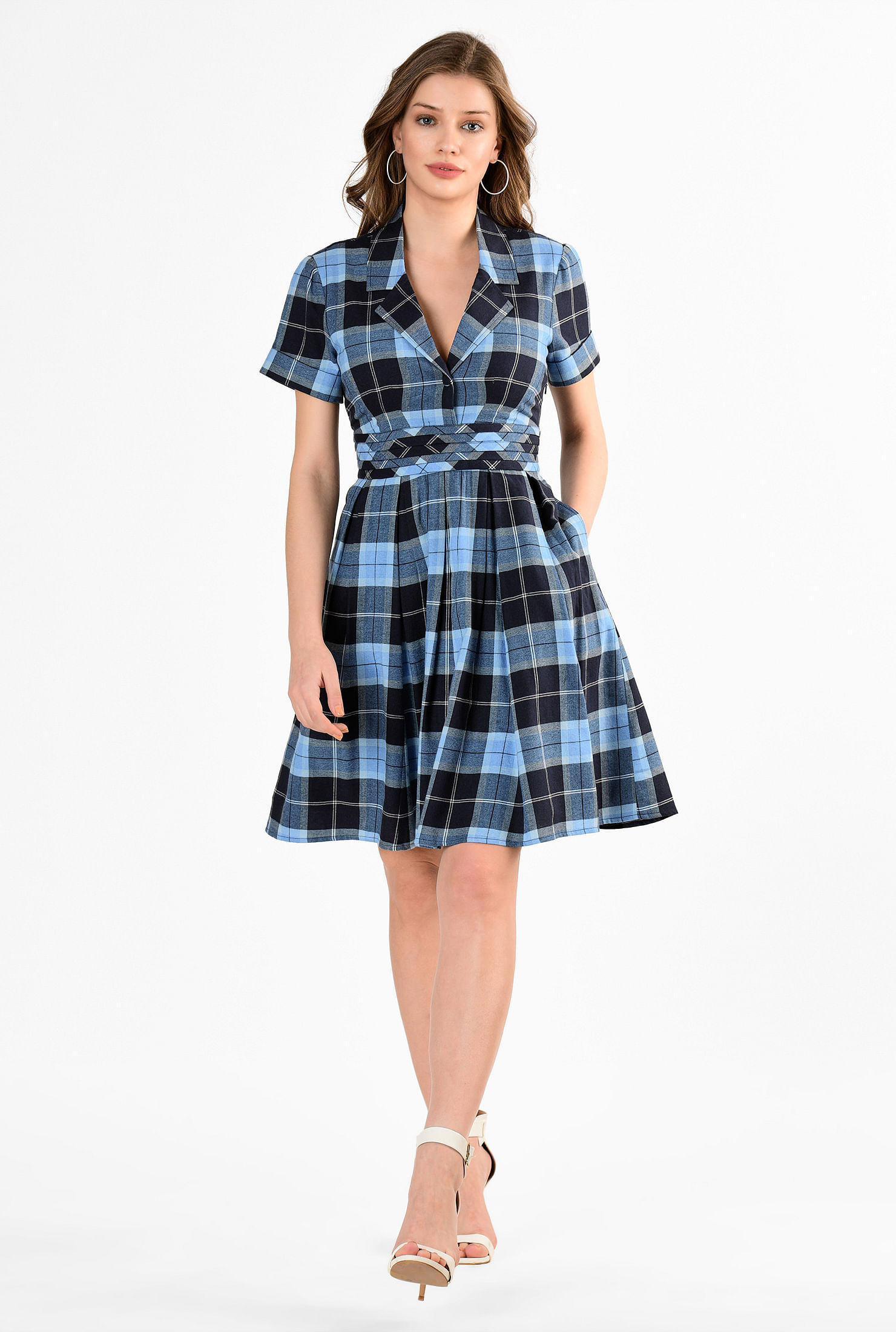 3679a95b171 ... Summer cotton plaid notch collar dress. zapelle.