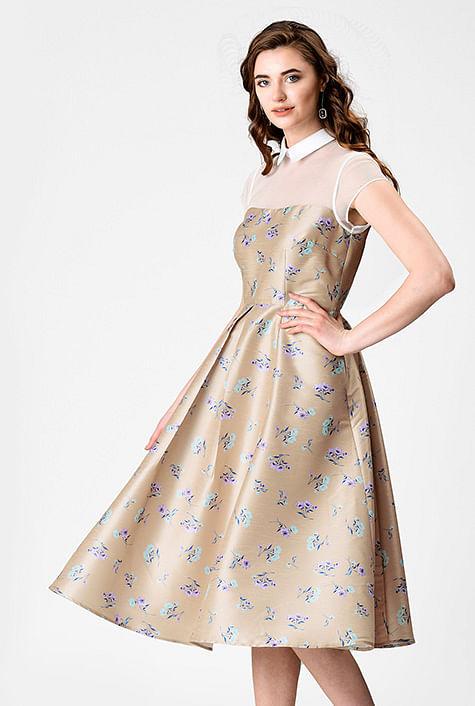 328c39bef799 Tulle illusion floral print dupioni dress
