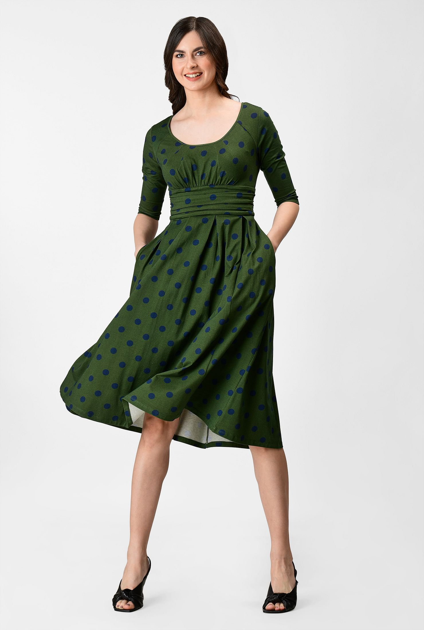 Chelsea polka dot print cotton knit dress