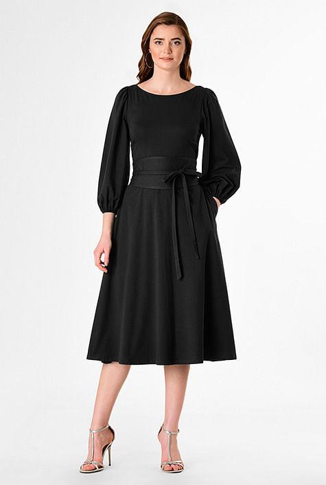 Blouson sleeve cotton knit obi belt dress