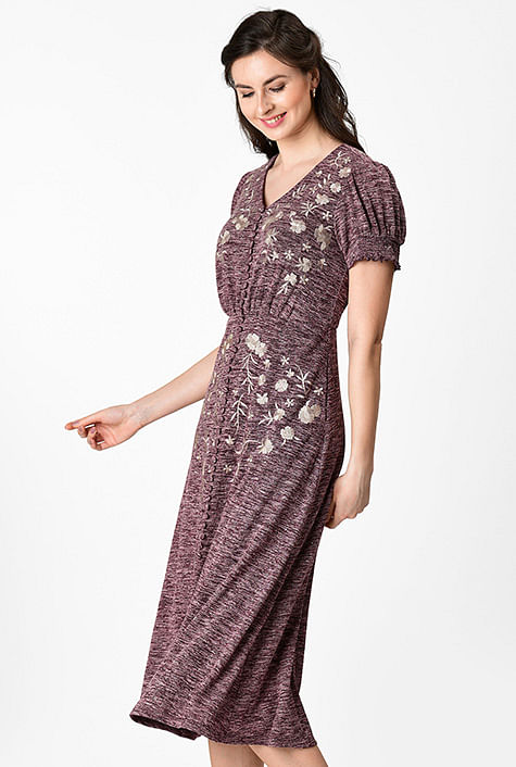39f328cd81 Floral embellished heather jersey knit dress
