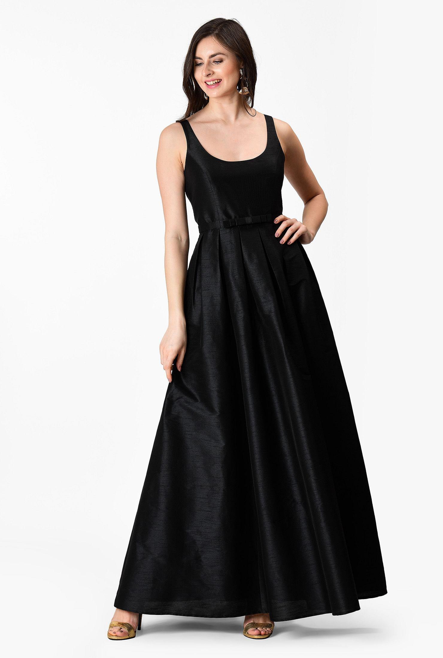 Bow tie waist dupioni maxi dress