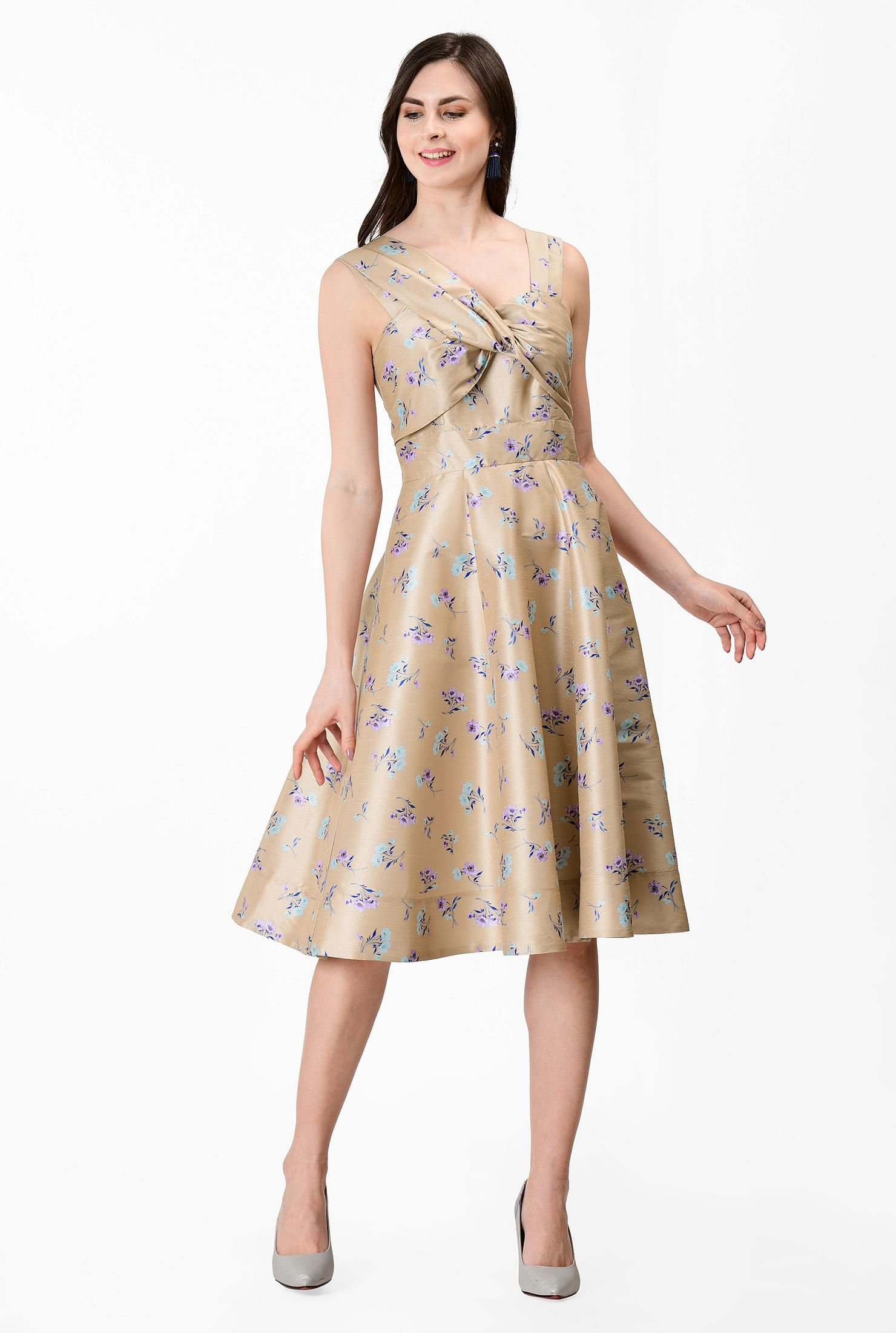 Drape Neck Floral Print Dupioni Dress