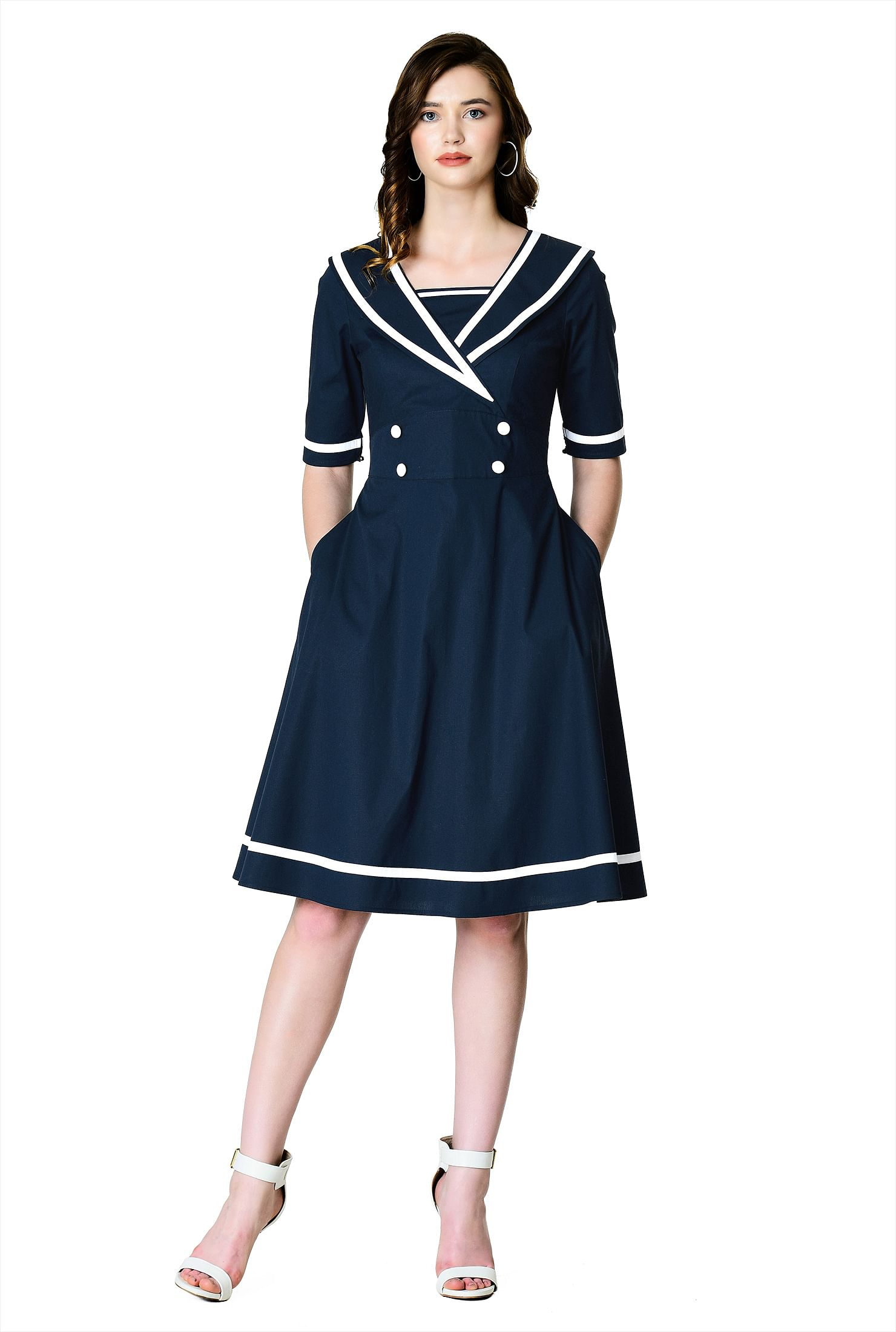 Sailor Dresses, Nautical Theme Dress, WW2 Dresses Contrast trim poplin dress $59.95 AT vintagedancer.com