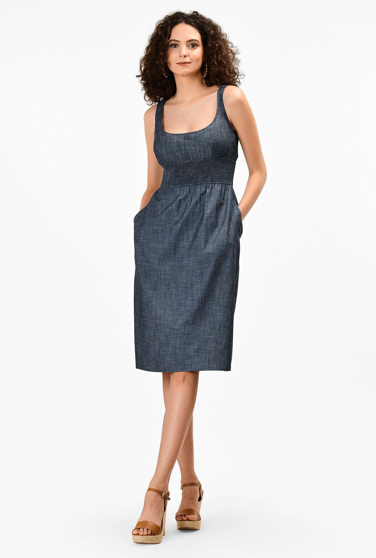 Smocked waist cotton chambray dress