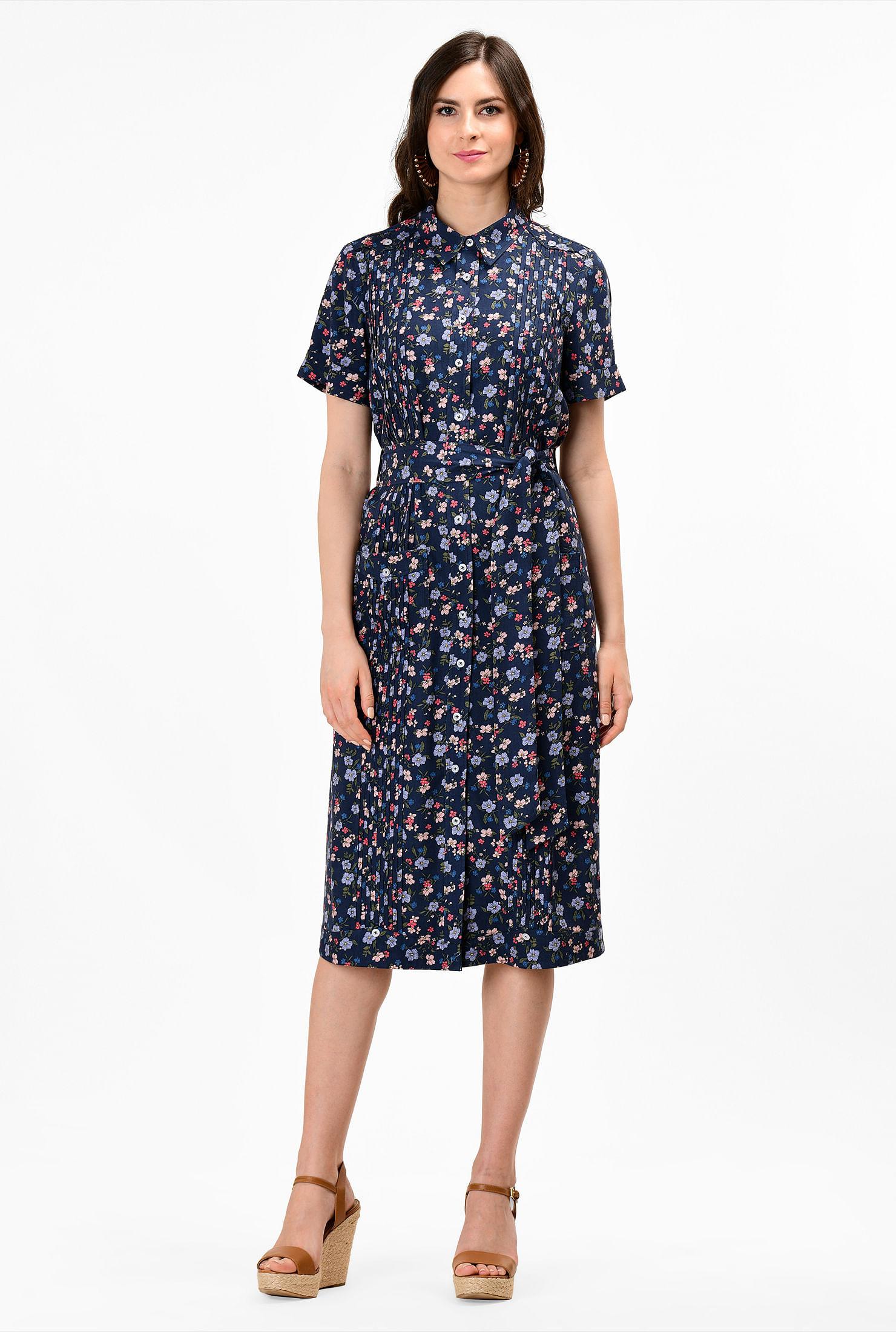 1930s Day Dresses, Tea Dresses, House Dresses Floral print shift shirtdress $69.95 AT vintagedancer.com