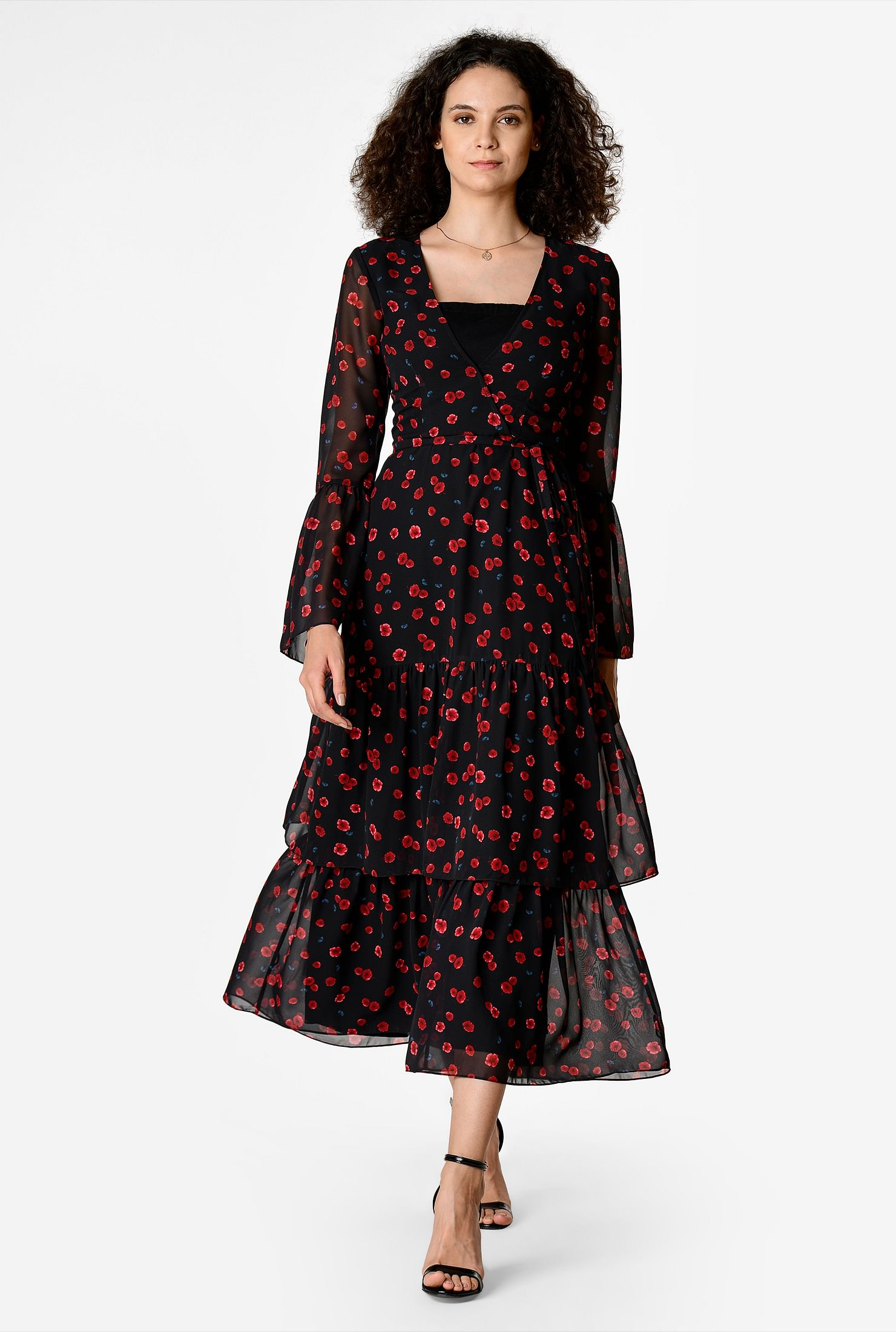1930s Day Dresses, Afternoon Dresses History Floral print georgette ruched tier dress $74.95 AT vintagedancer.com