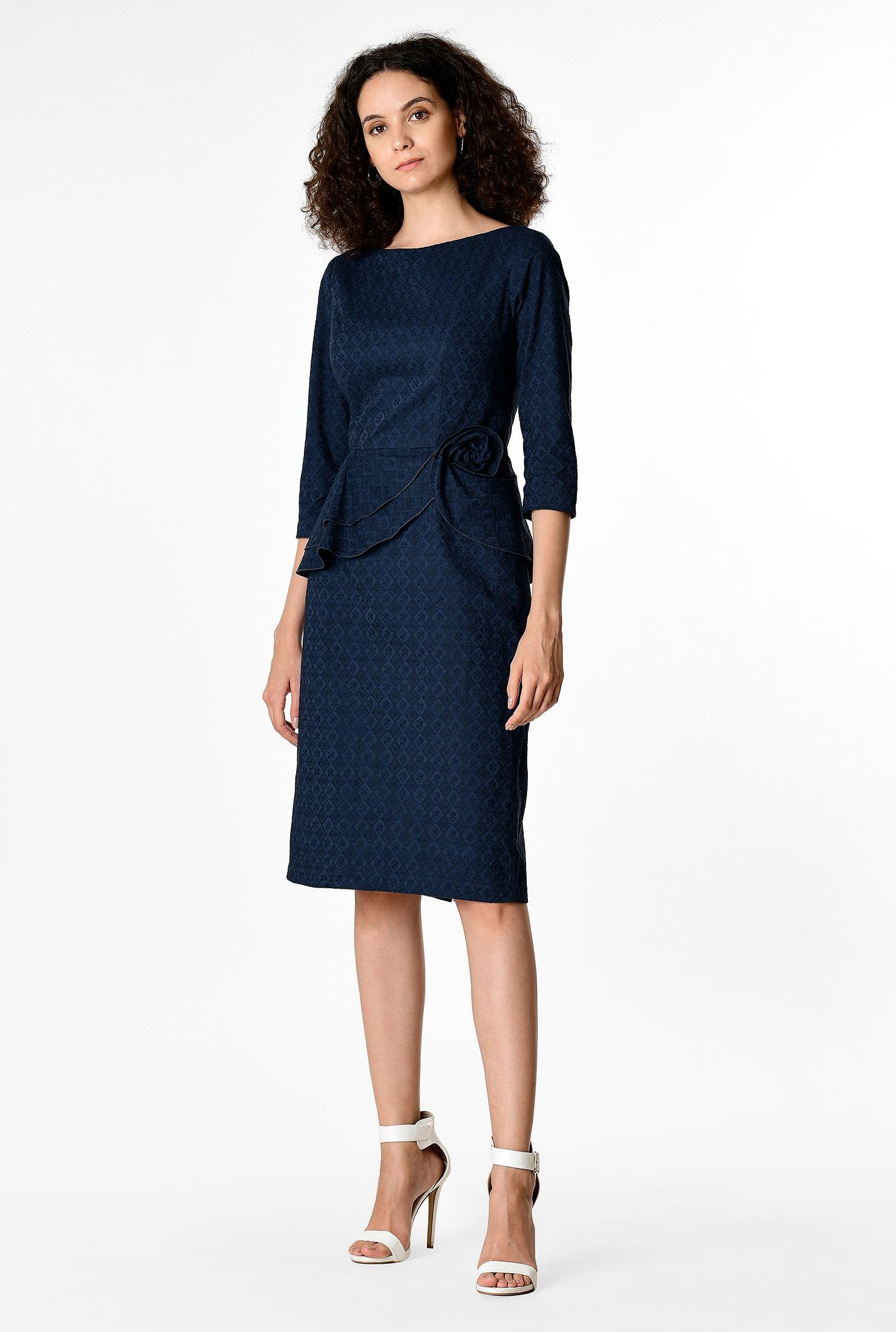 e4e5c5aa5d1be Floral eyelet cotton peplum flounce sheath dress