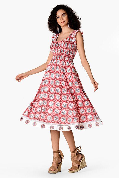 9719da72843 Embellished floral print cotton elastic smocked dress