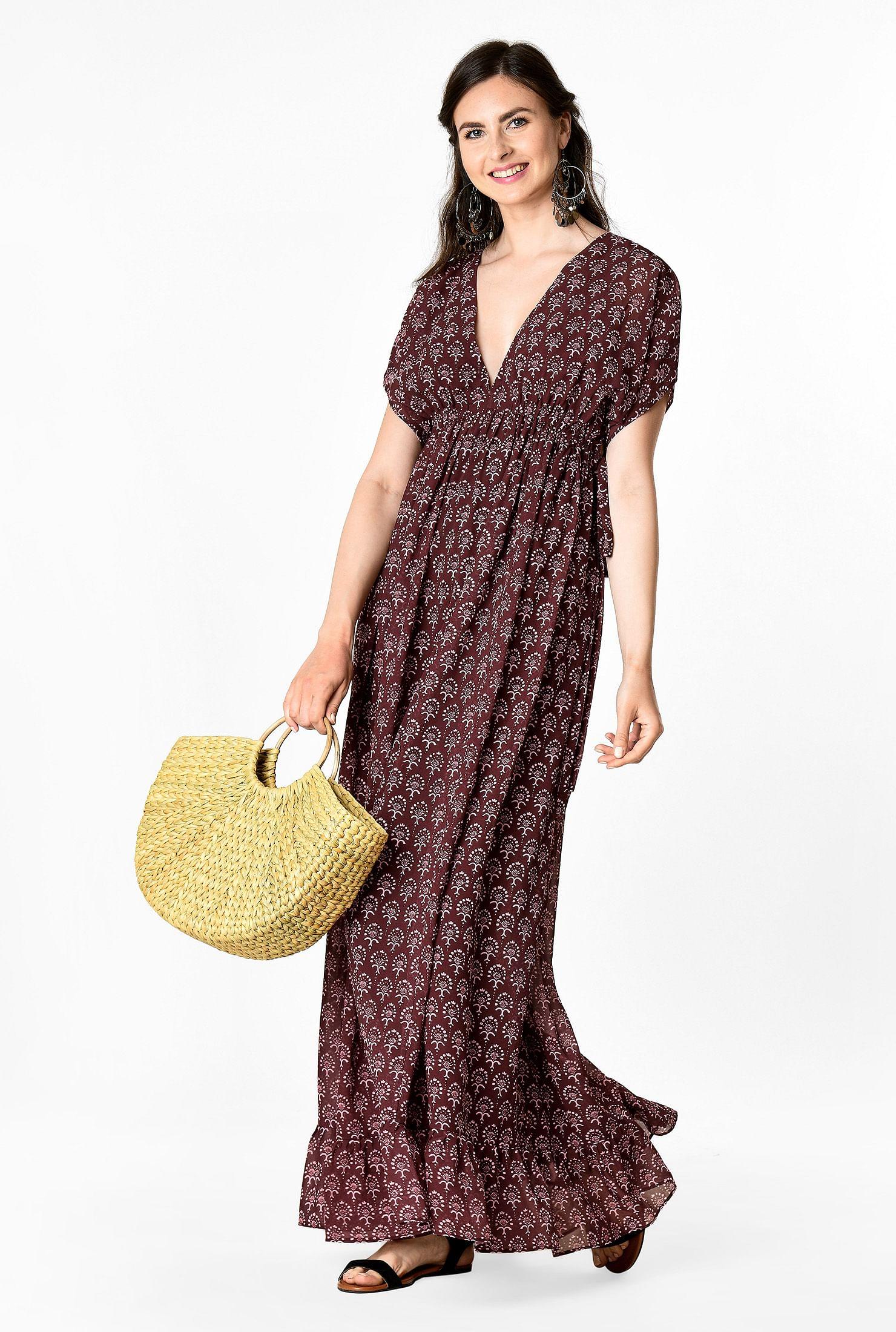 a1795433e2 Floral graphic print drawstring empire maxi dress