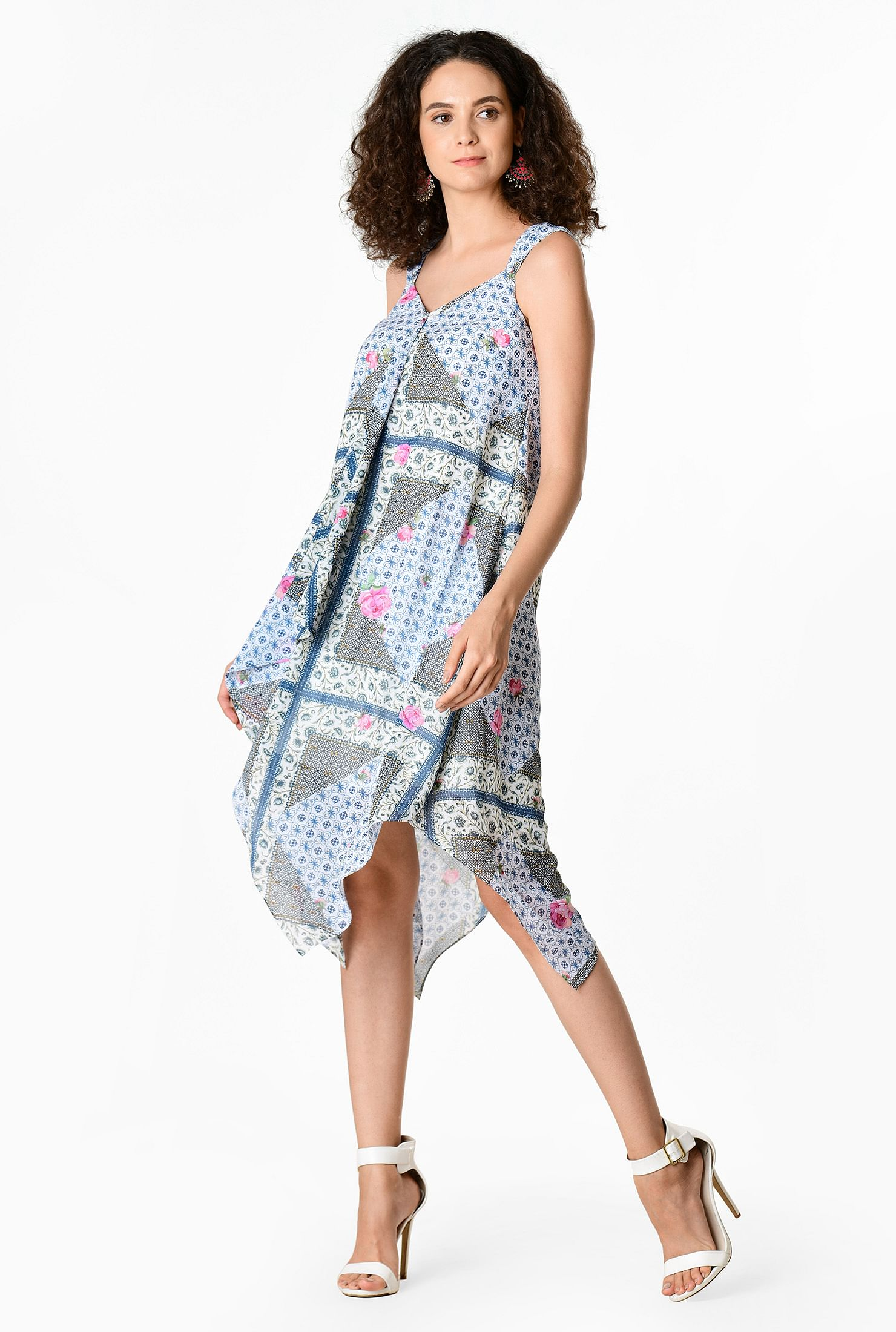 The Scarf Print Georgette Hanky Hem Trapeze Dress travel product recommended by Lindsay Wells on Lifney.