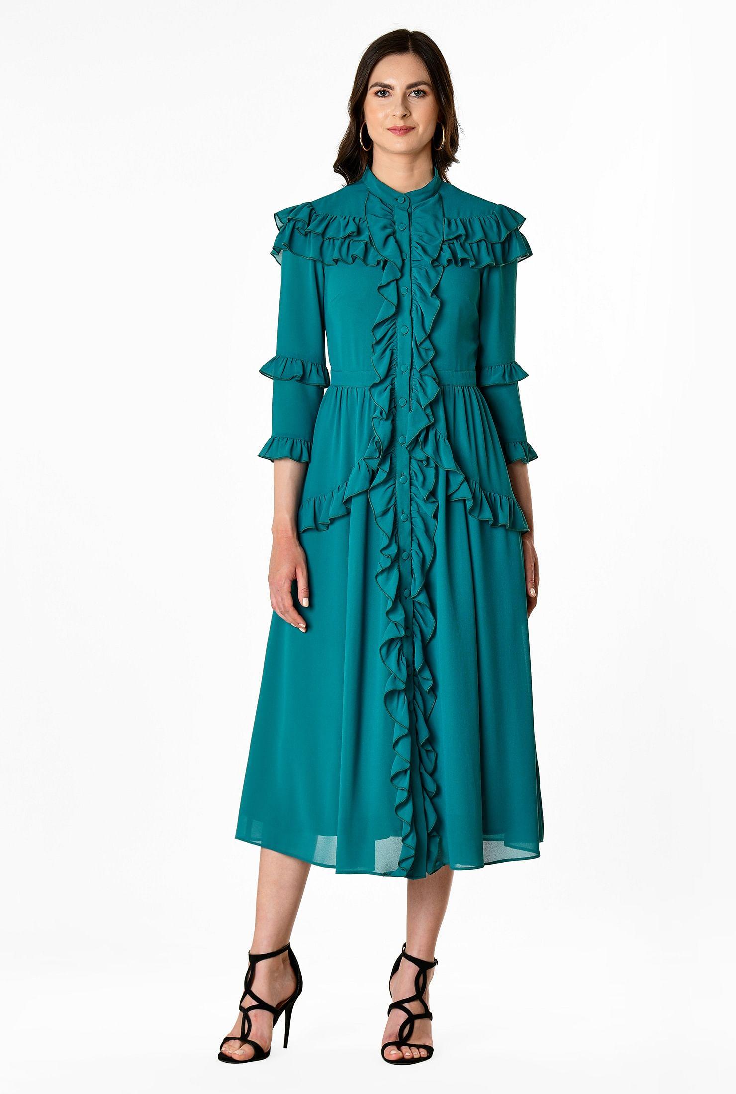 1930s Day Dresses, Afternoon Dresses History Ruffle trim chiffon shirtdress $89.95 AT vintagedancer.com