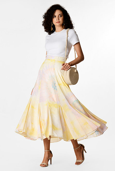 f3dfd0cf5586 Tie-dye print georgette godet swing skirt