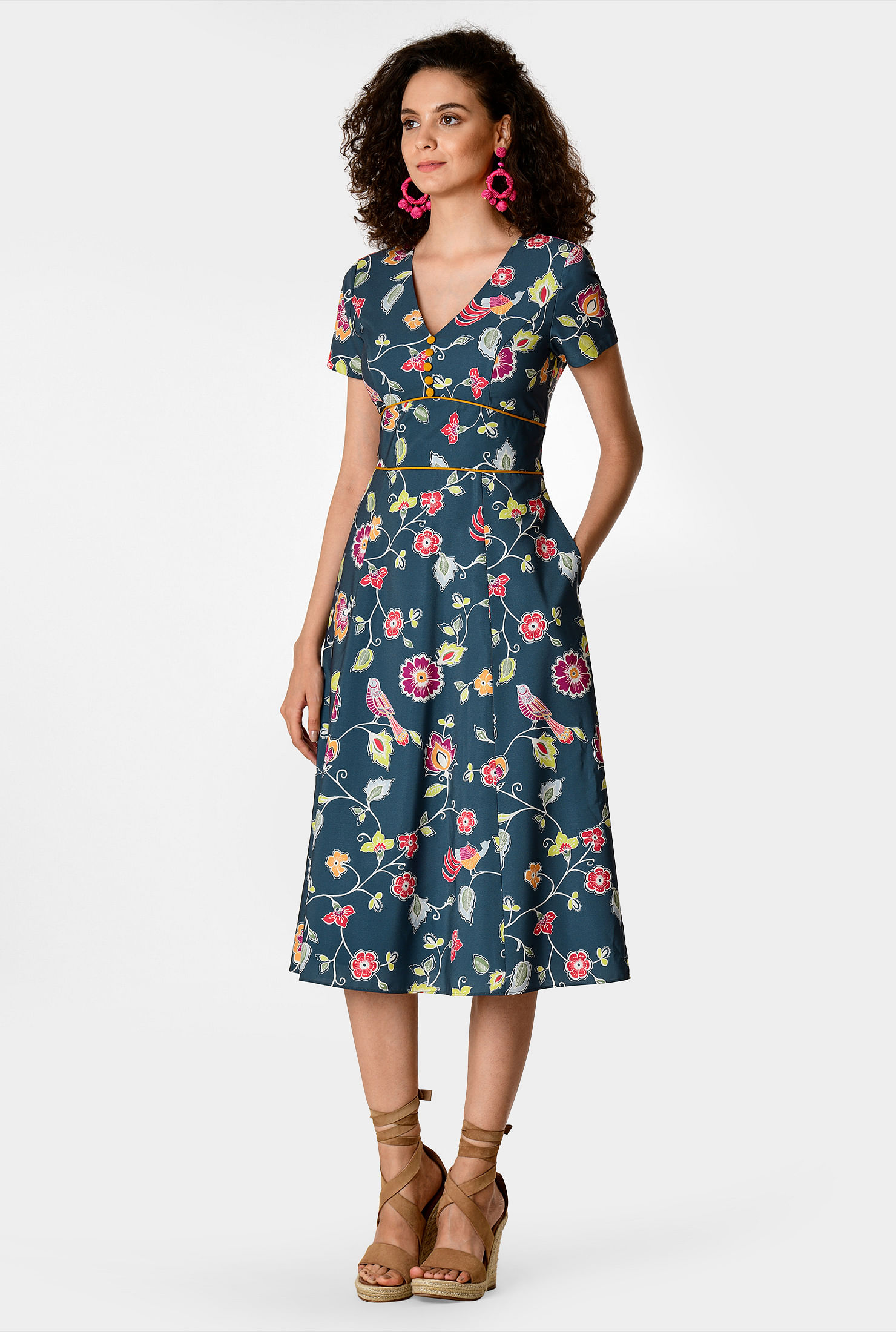 1940s Dresses | 40s Dress, Swing Dress Floral print crepe banded empire dress $54.95 AT vintagedancer.com