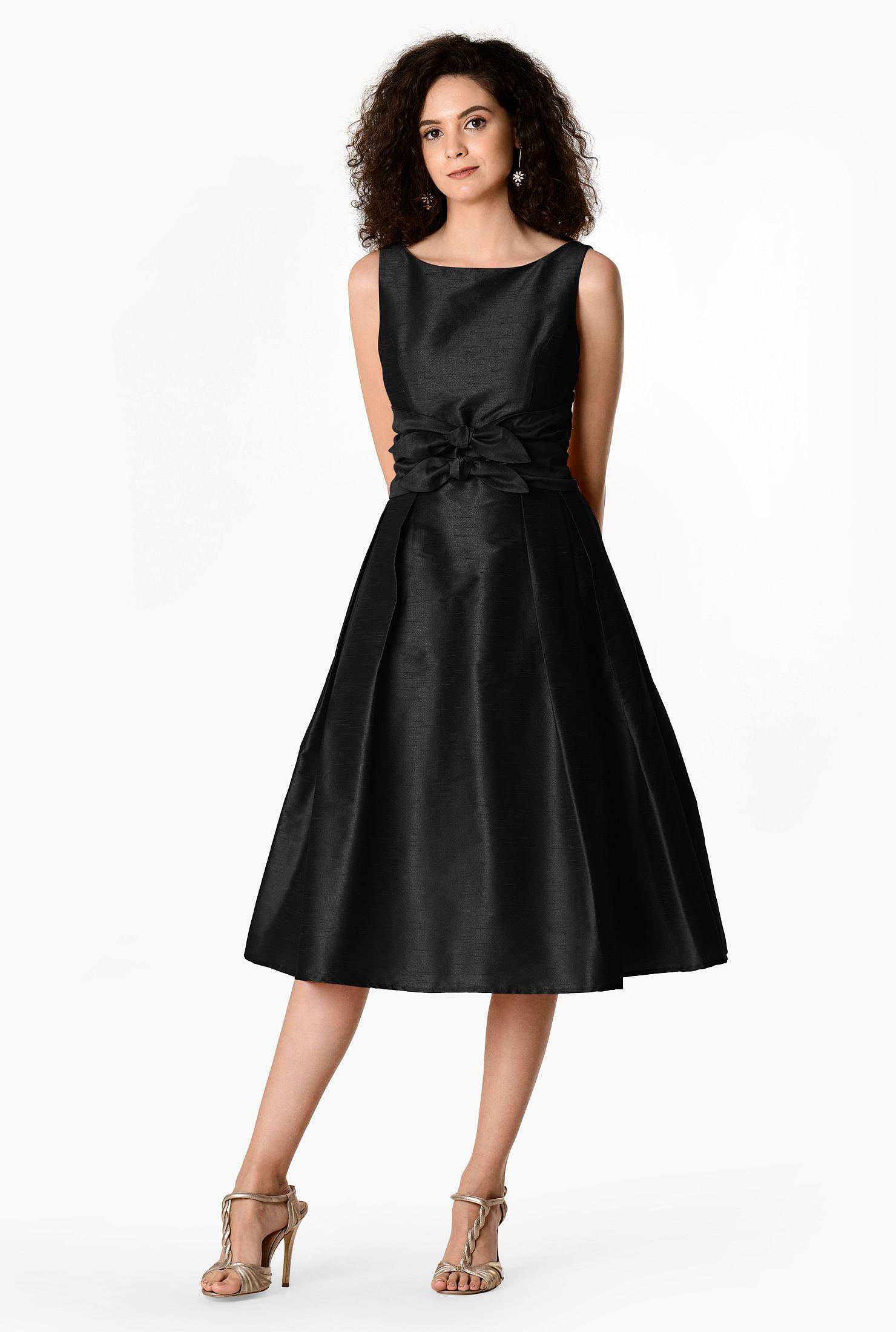 Bow-tie front dupioni dress