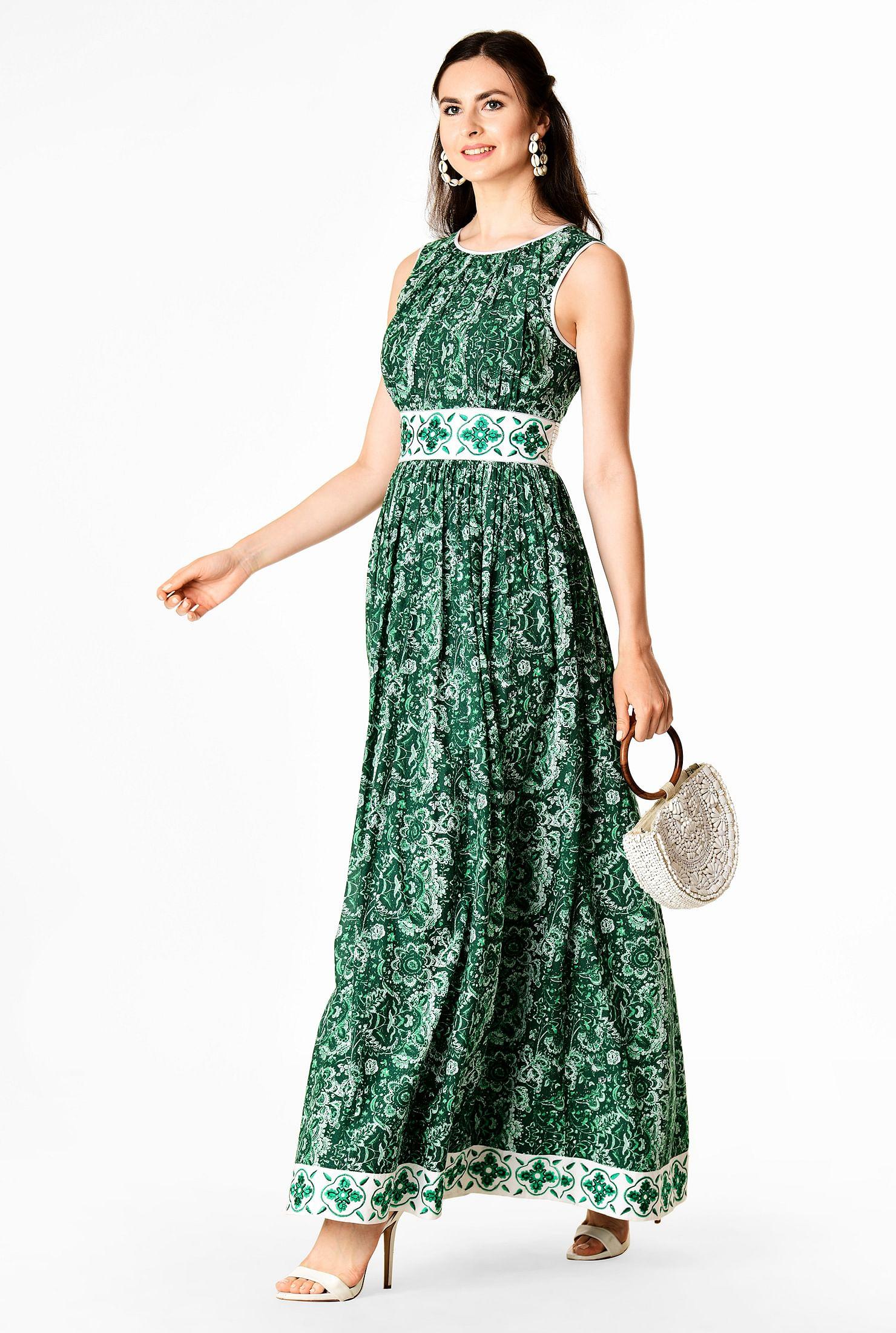 Floral print cotton embellished trim ruched maxi dress