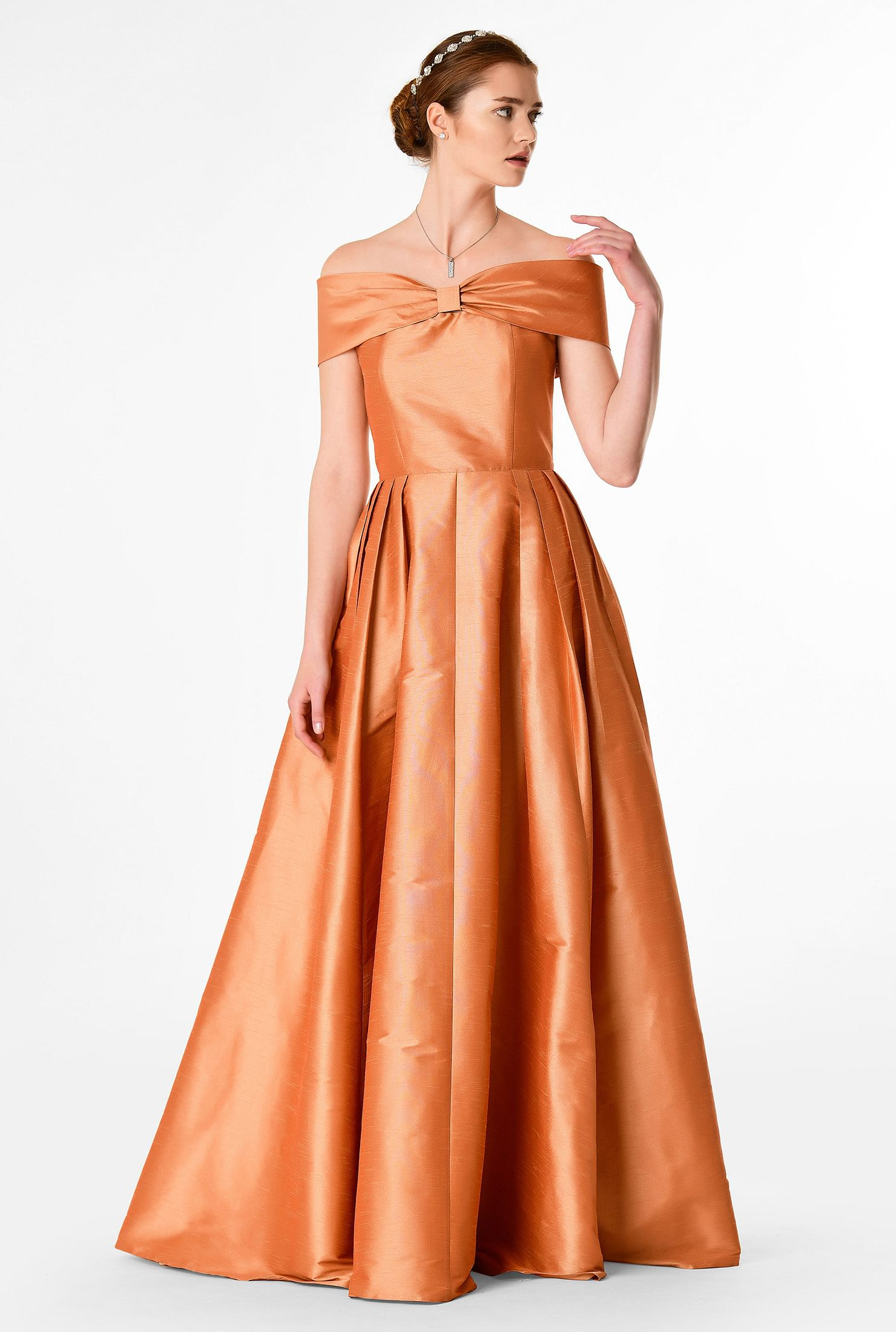 1950s Bridesmaid Dresses | 50s Bridesmaid Dresses Off-the-shoulder dupioni maxi dress $99.95 AT vintagedancer.com