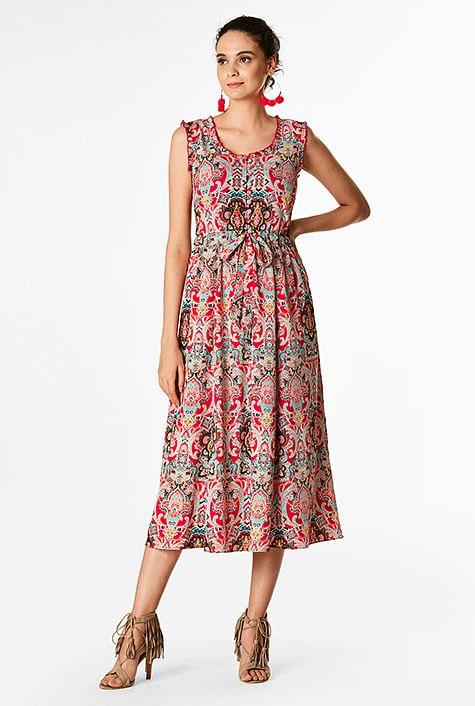 64c38fb62 Tile print drawstring ties moss crepe dress