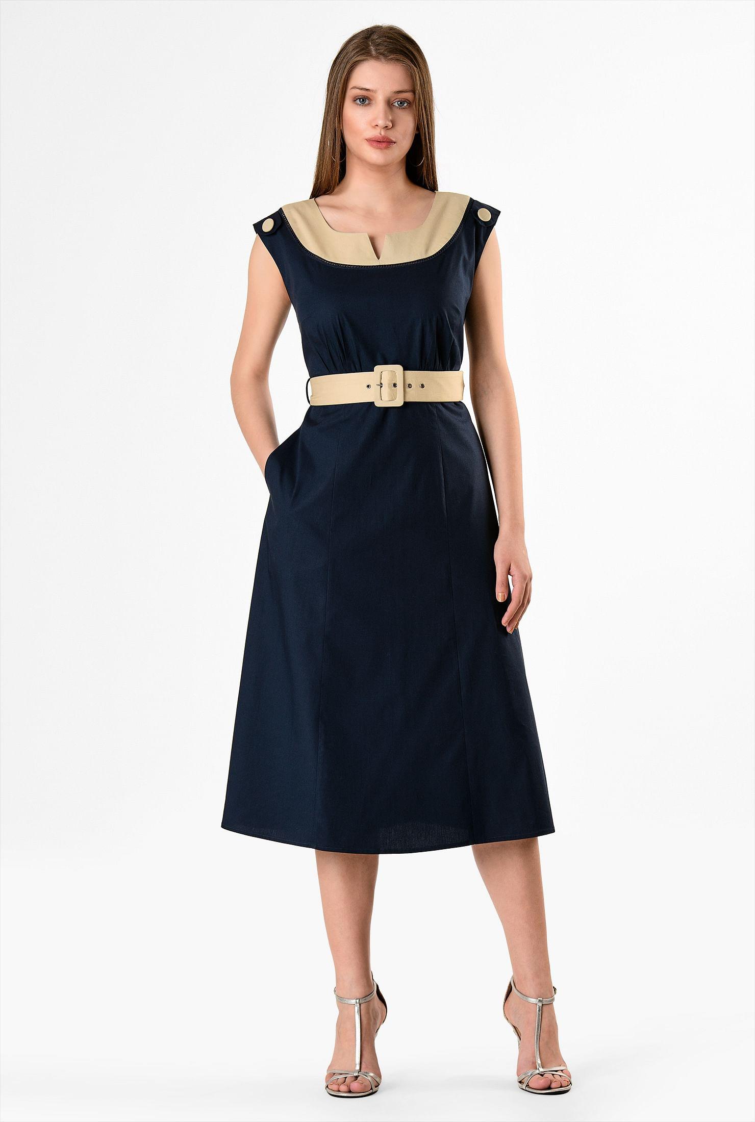1930s Day Dresses, Tea Dresses, House Dresses Colorblock stretch poplin belted dress $59.95 AT vintagedancer.com