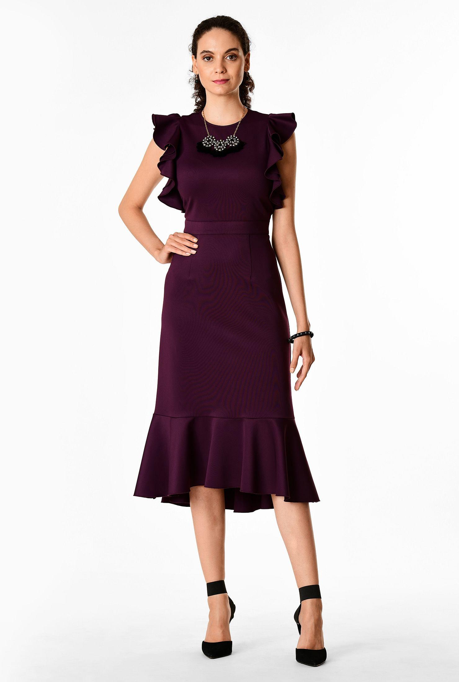 Ruffle sleeve ponte knit flounce hem sheath dress