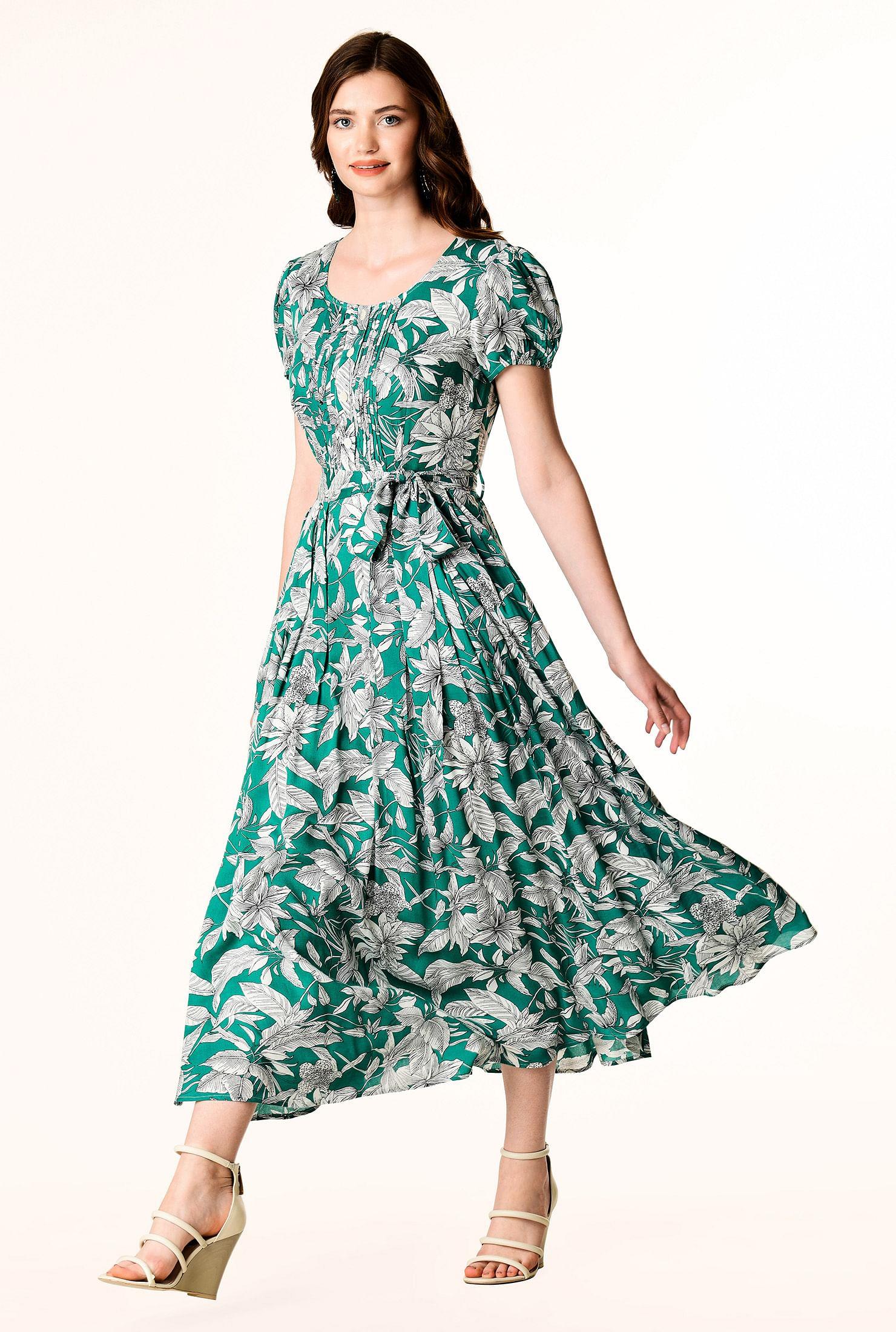 Tux pleat front tropical print dress