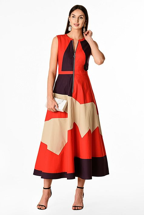 0fc88d4636284 Zip front abstract colorblock stretch poplin dress
