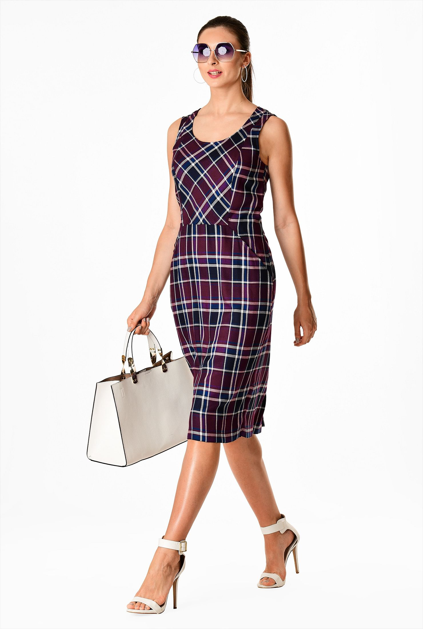 Bib-front woven plaid sheath dress