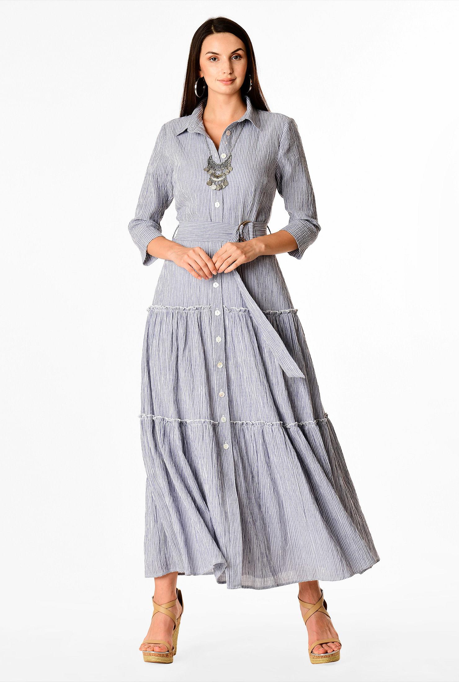 Super Stripe cotton gauze tier maxi shirtdress - Women's Clothing 0-36W PF-32