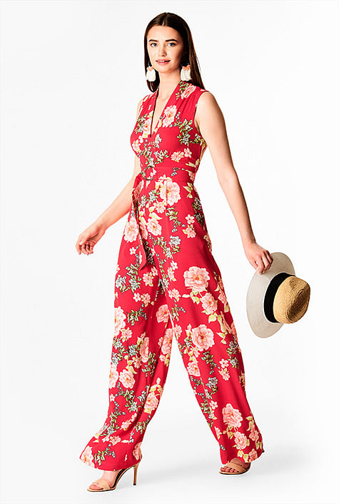 b88a9771bcd6 Floral print crepe empire belted jumpsuit