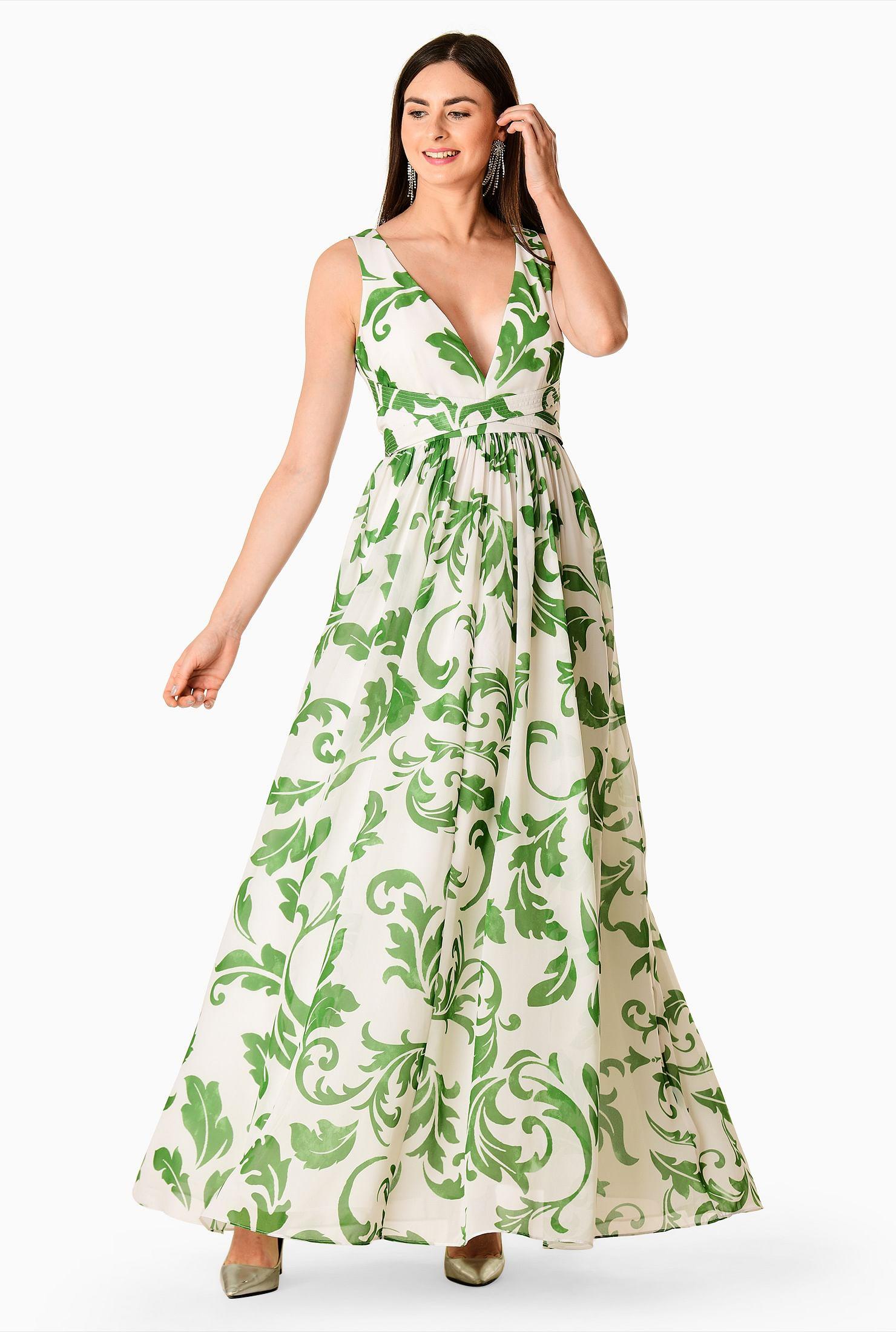 Plunge georgette cross waist maxi dress