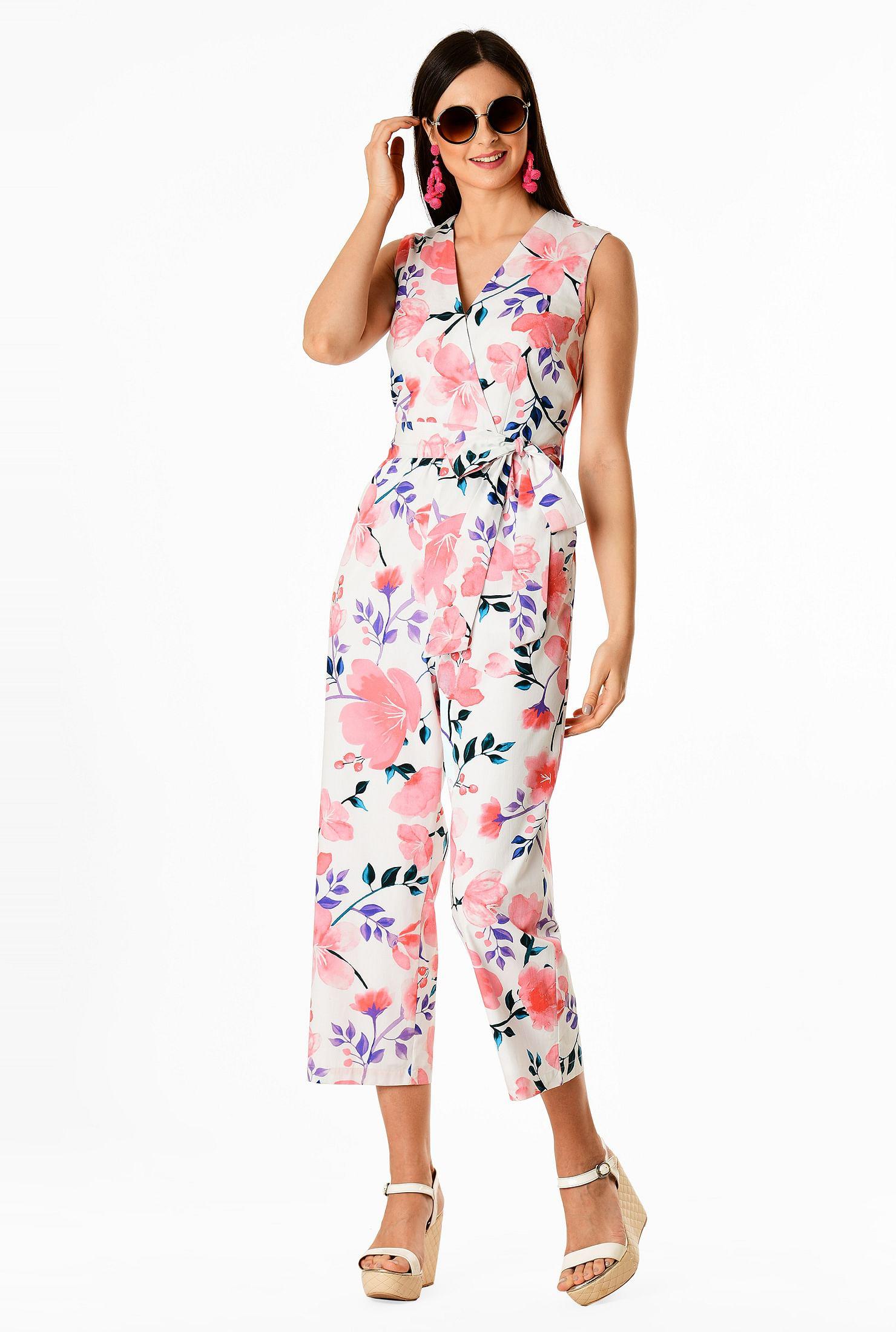 ac0be799ad8 Floral print cotton poplin surplice jumpsuit