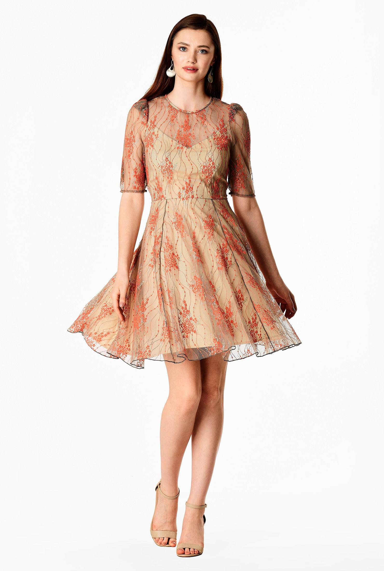 Illusion floral lace skater dress