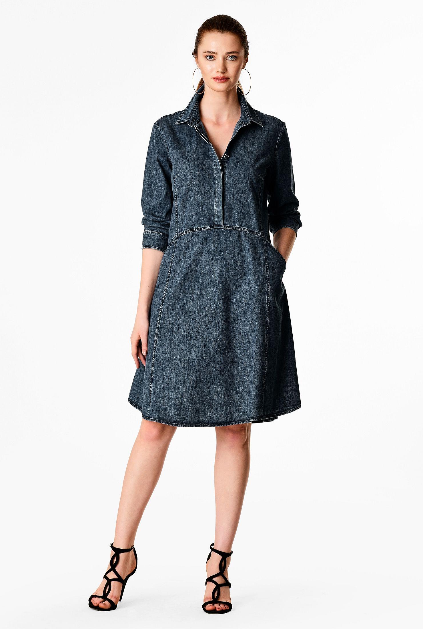 Vintage blue cotton denim shirtdress