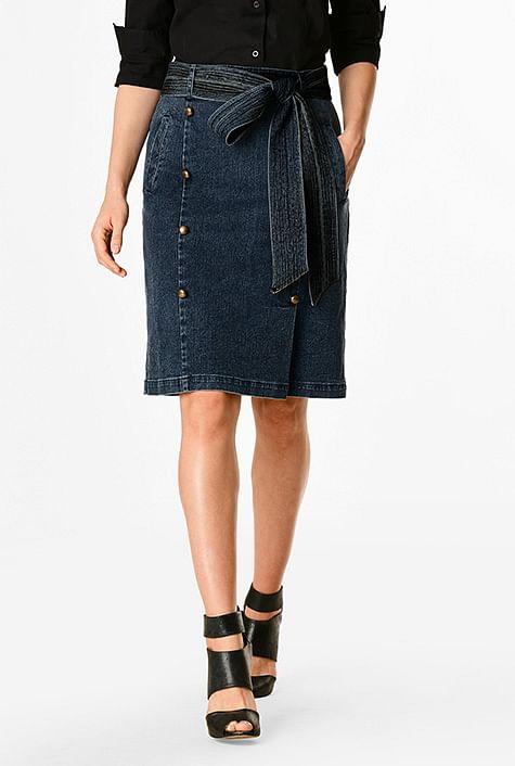 d4bf711d81a3 Deep indigo denim faux button front pencil skirt