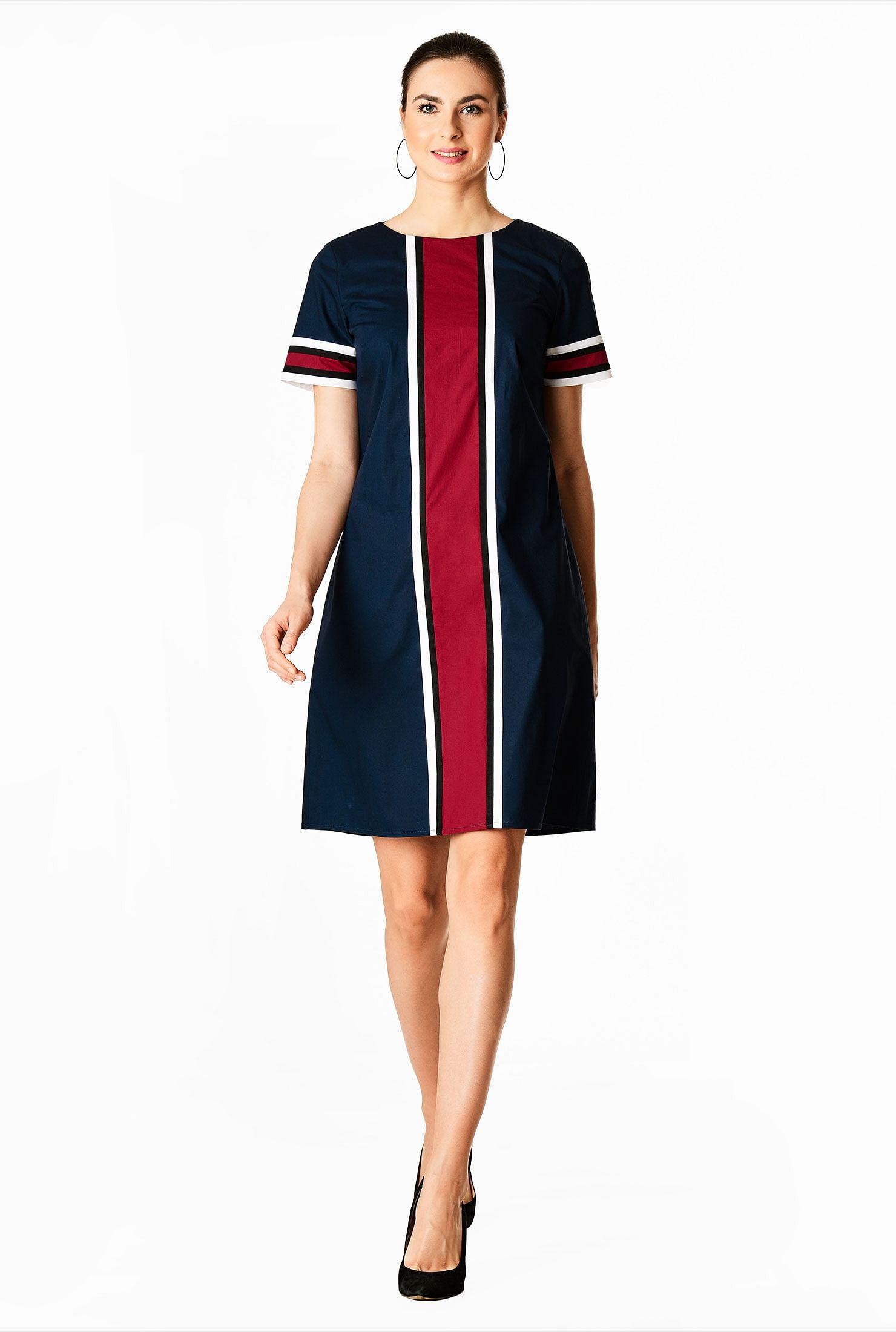 60s Dresses | 1960s Dresses Mod, Mini, Hippie Contrast linear stripe poplin dress $54.95 AT vintagedancer.com