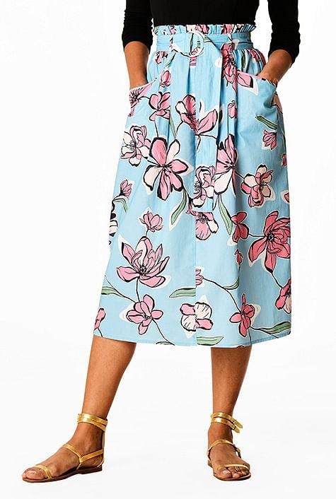 b5dcc9858 Floral print paperbag waist belted cotton poplin skirt